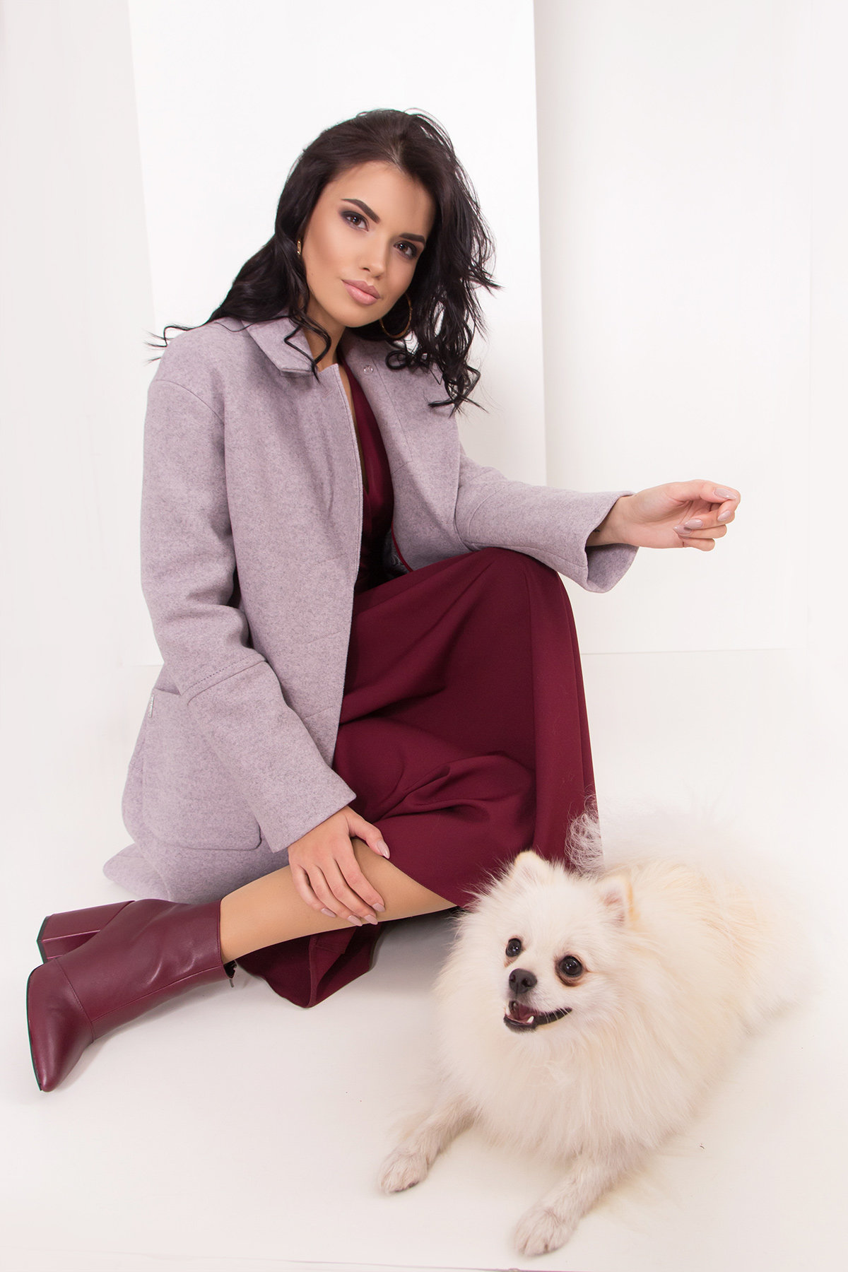 Элегантное зимнее пальто миди длины с накладными карманами Флорида 8138 АРТ. 44094 Цвет: Серо-розовый 46 - фото 2, интернет магазин tm-modus.ru