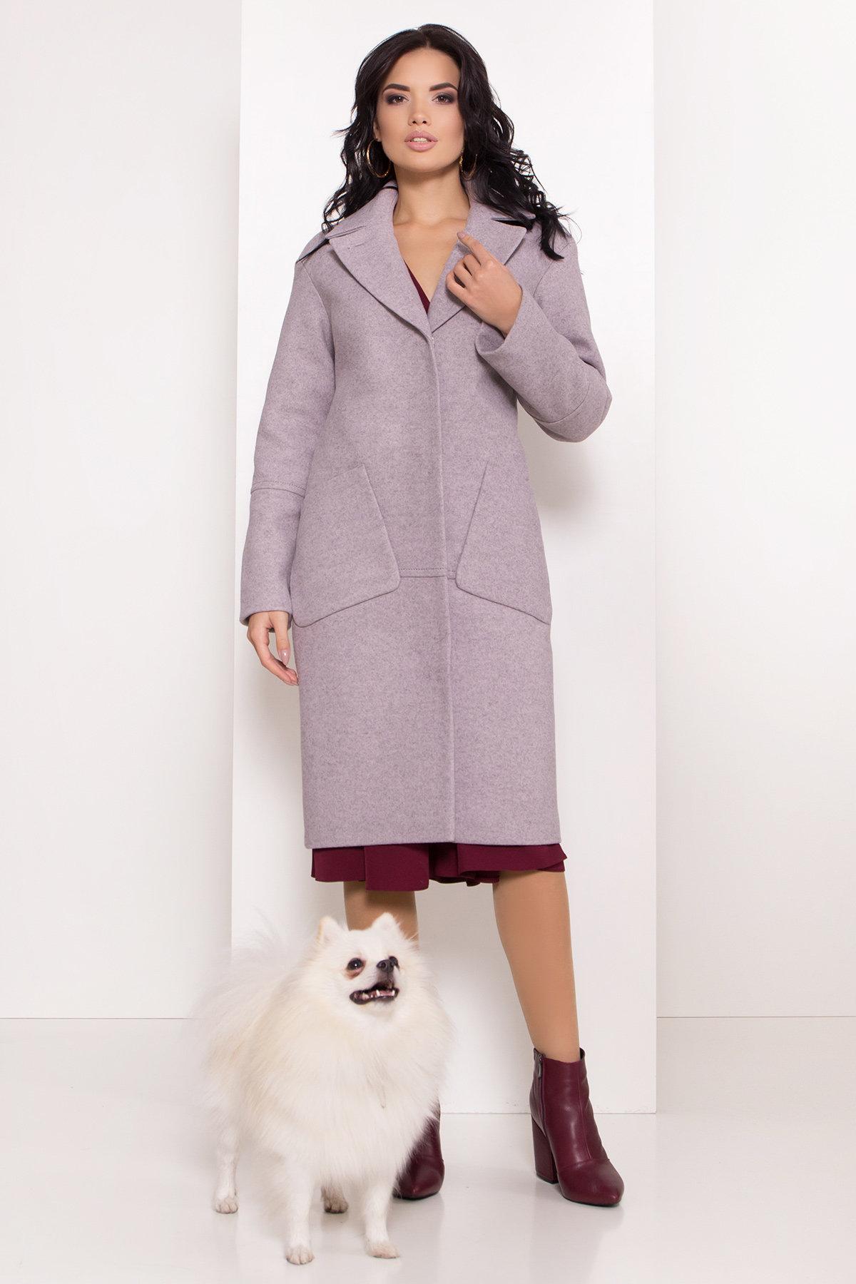 Элегантное зимнее пальто миди длины с накладными карманами Флорида 8138 АРТ. 44094 Цвет: Серо-розовый 46 - фото 3, интернет магазин tm-modus.ru