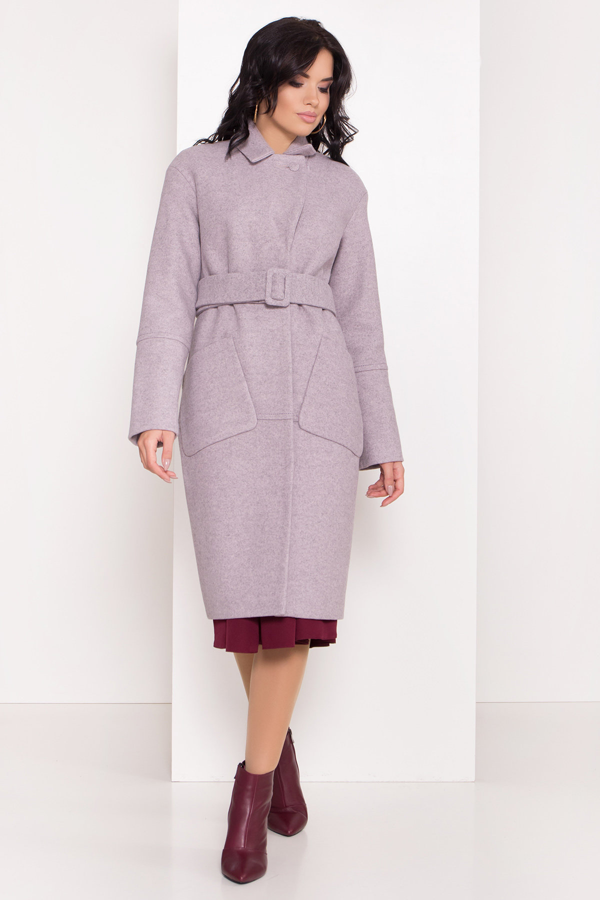 Зимнее пальто интернет магазин Элегантное зимнее пальто миди длины с накладными карманами Флорида 8138