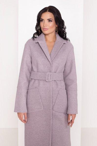 Элегантное зимнее пальто миди длины с накладными карманами Флорида 8138 Цвет: Серо-розовый 46