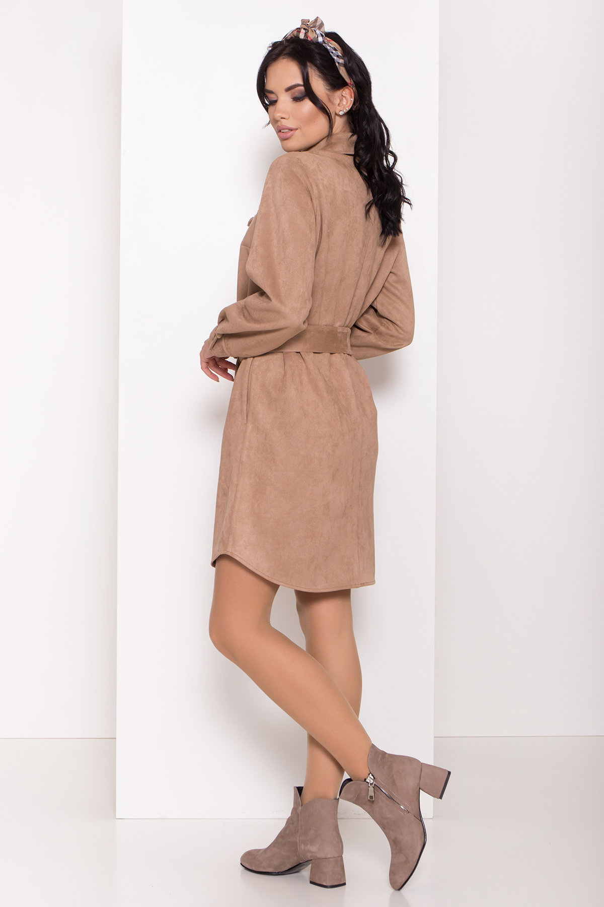 Оригинальное платье-рубашка Омса 8116 Цвет: Пудра Темная
