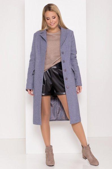 Полуприталенное зимнее пальто с отложным воротником Лабио 8182 Цвет: Джинс 3