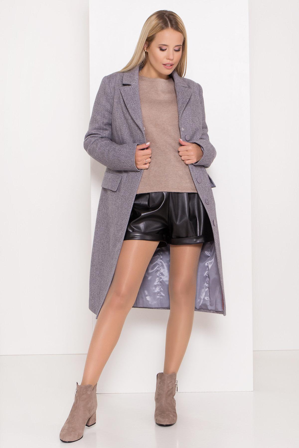 Полуприталенное зимнее пальто с отложным воротником Лабио 8182 АРТ. 44189 Цвет: Серый 2 - фото 2, интернет магазин tm-modus.ru