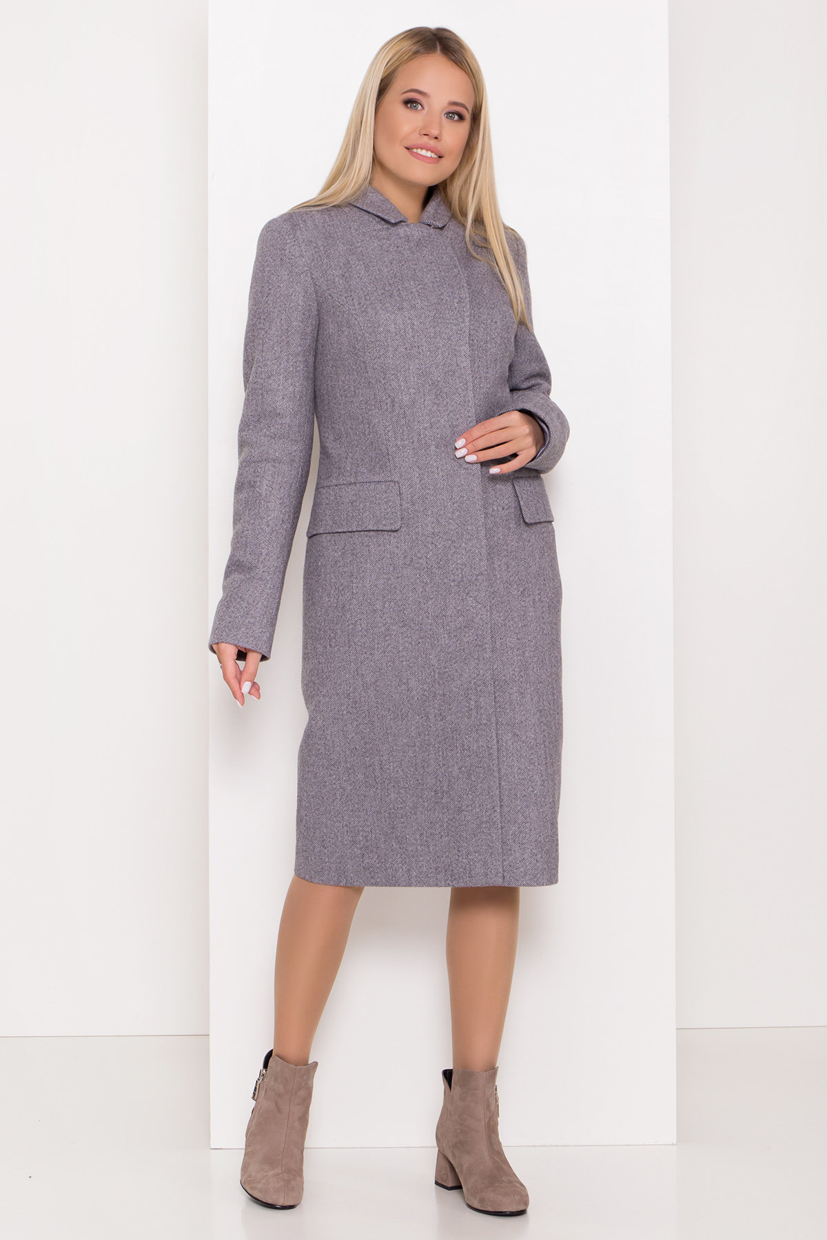 Полуприталенное зимнее пальто с отложным воротником Лабио 8182 АРТ. 44189 Цвет: Серый 2 - фото 8, интернет магазин tm-modus.ru