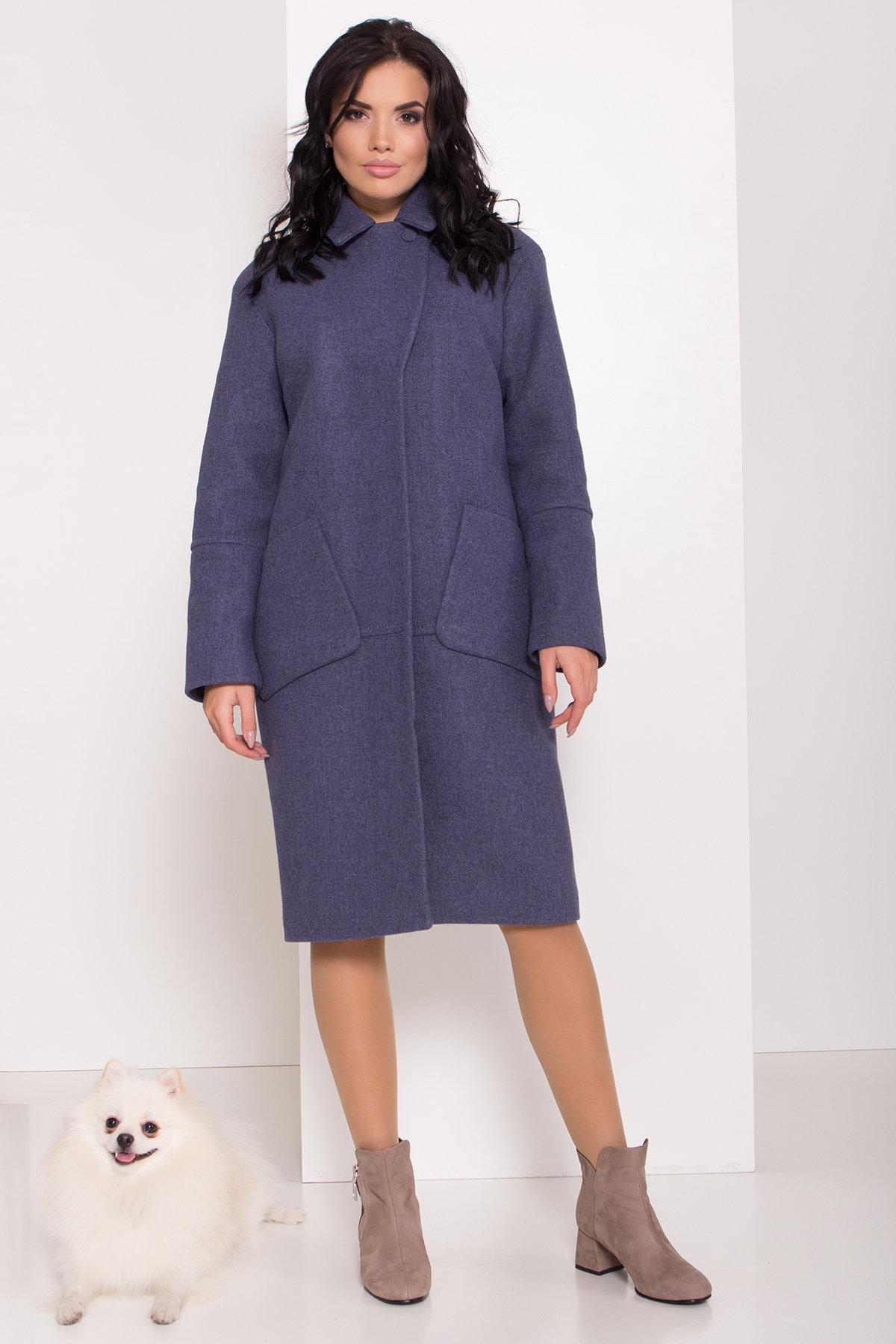 Элегантное зимнее пальто миди длины с накладными карманами Флорида 8138 АРТ. 44114 Цвет: Джинс тёмно-синий - фото 2, интернет магазин tm-modus.ru