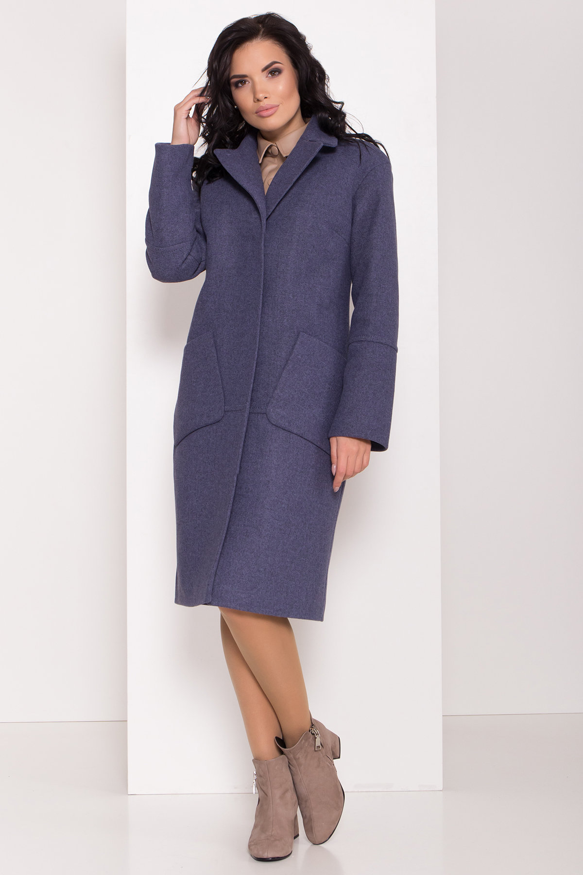 Элегантное зимнее пальто миди длины с накладными карманами Флорида 8138 АРТ. 44114 Цвет: Джинс тёмно-синий - фото 4, интернет магазин tm-modus.ru