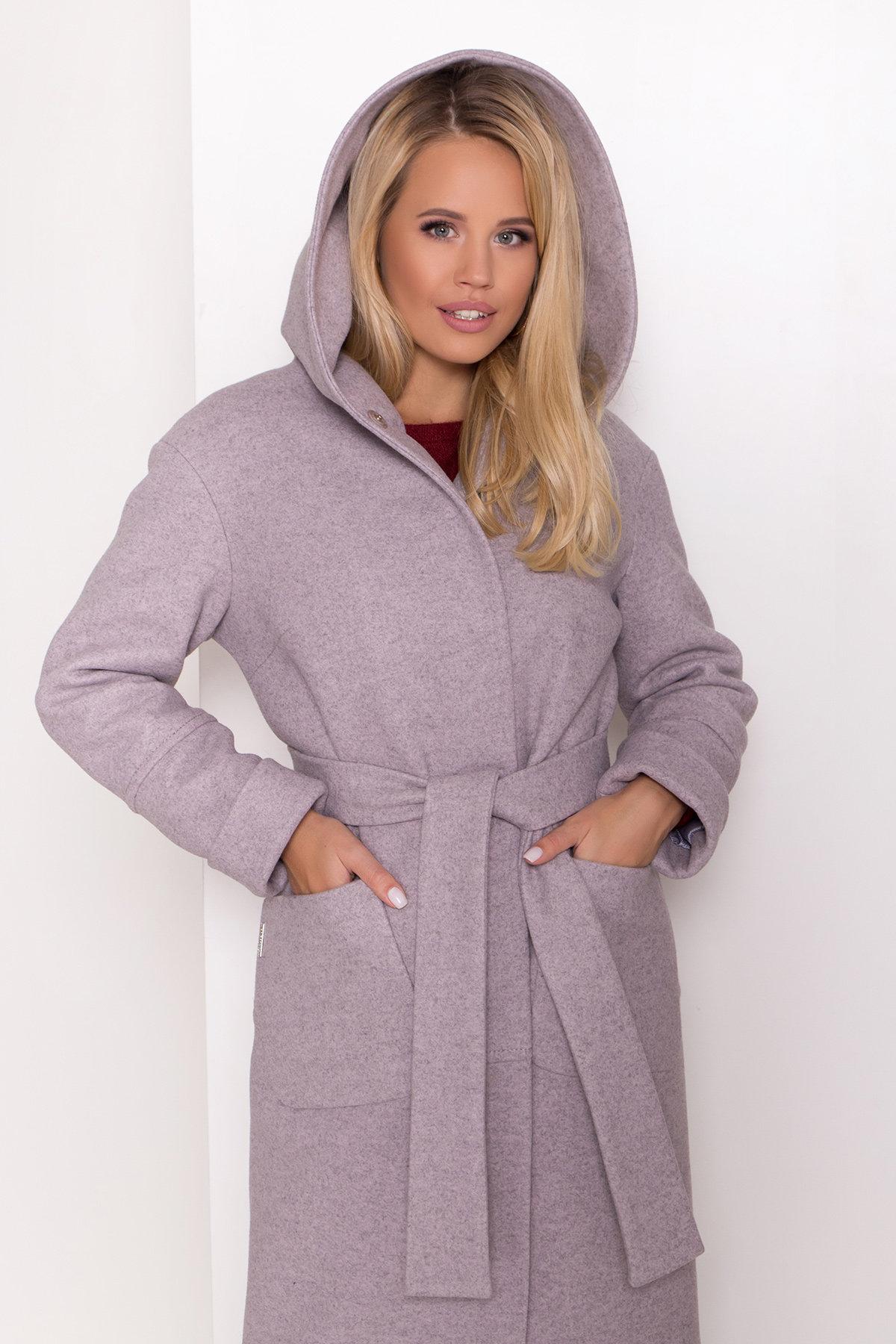 Утепленное пальто с капюшоном на зиму Анита классик 8213 Цвет: Серо-розовый 46