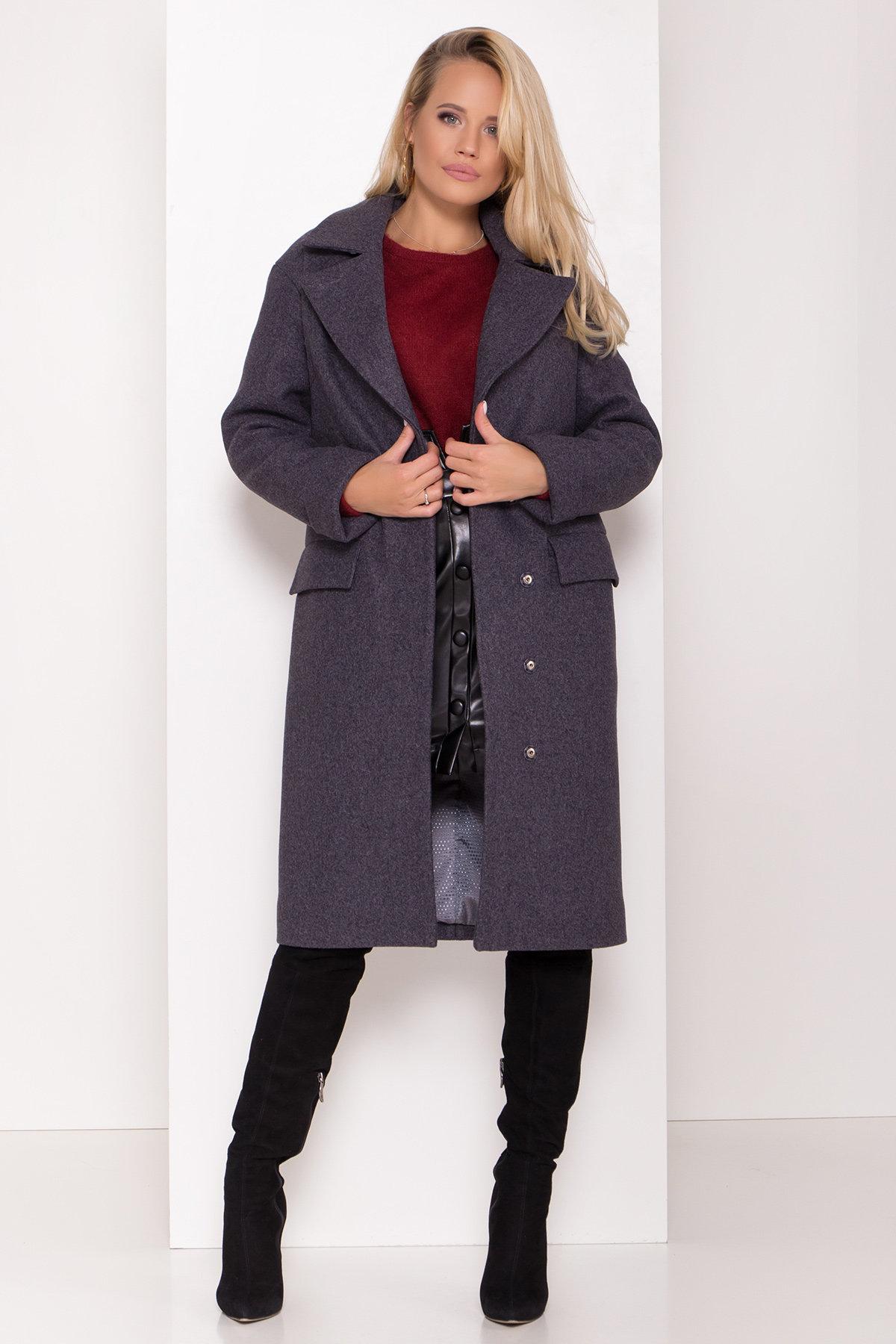 Зимнее пальто с отложным воротником Моле 8085 АРТ. 44036 Цвет: Т.синий 543 - фото 1, интернет магазин tm-modus.ru