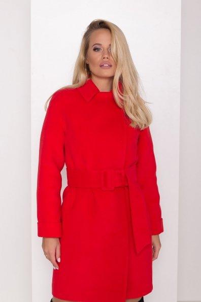Зимнее пальто в классическом стиле Лизи 8179 Цвет: Красный