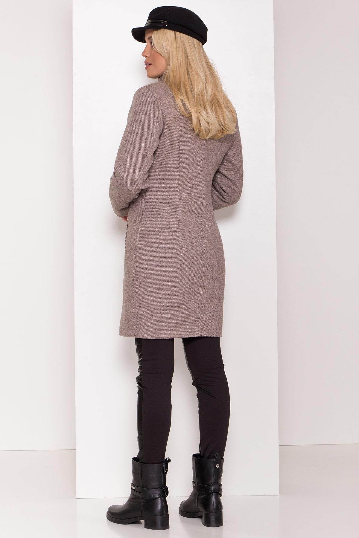 Зимнее пальто со снудом Габи 8205 Цвет: Шоколадный меланж