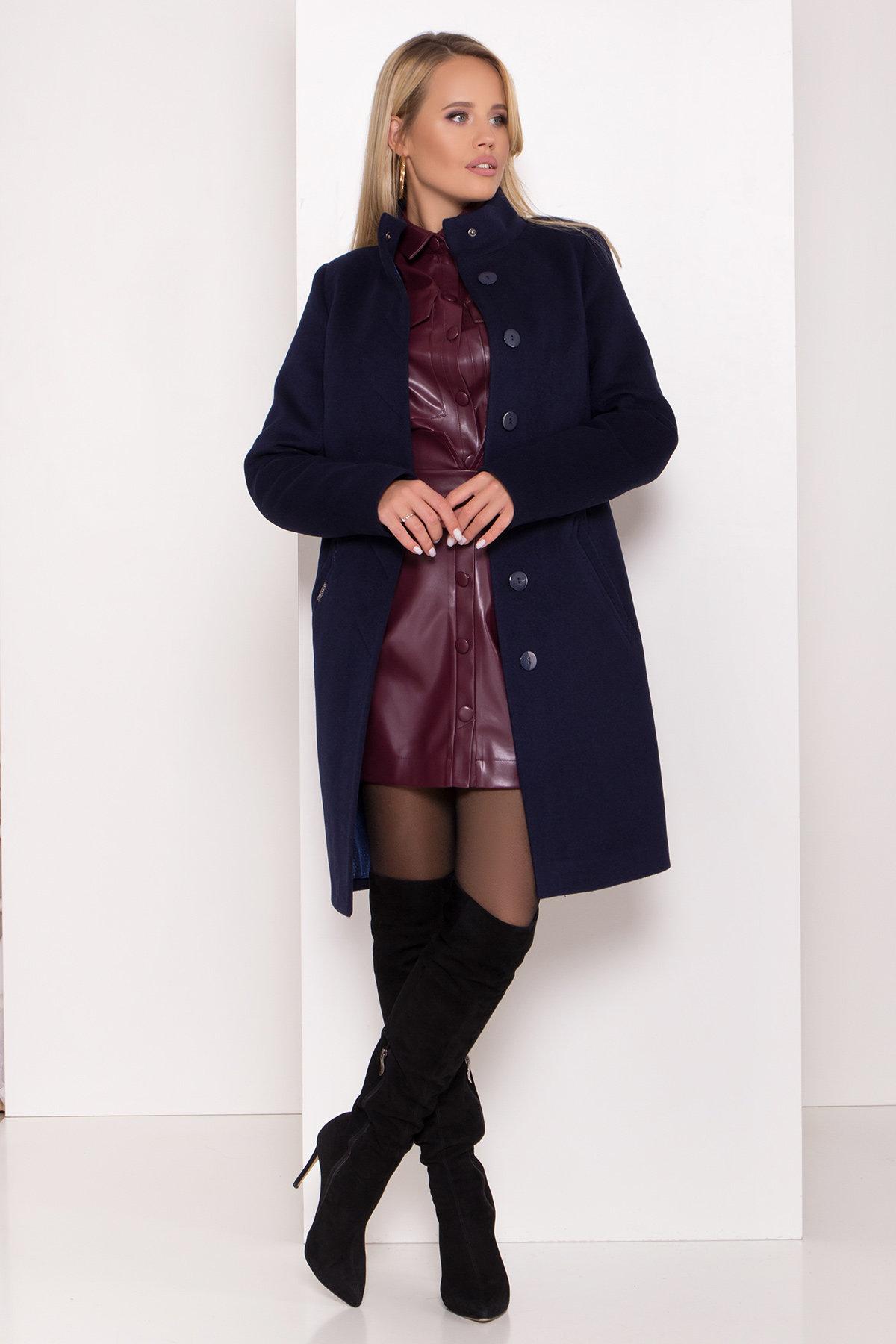 Пальто зима с хомутом Люцея 8211 АРТ. 44224 Цвет: Т.синий Н-14 - фото 1, интернет магазин tm-modus.ru