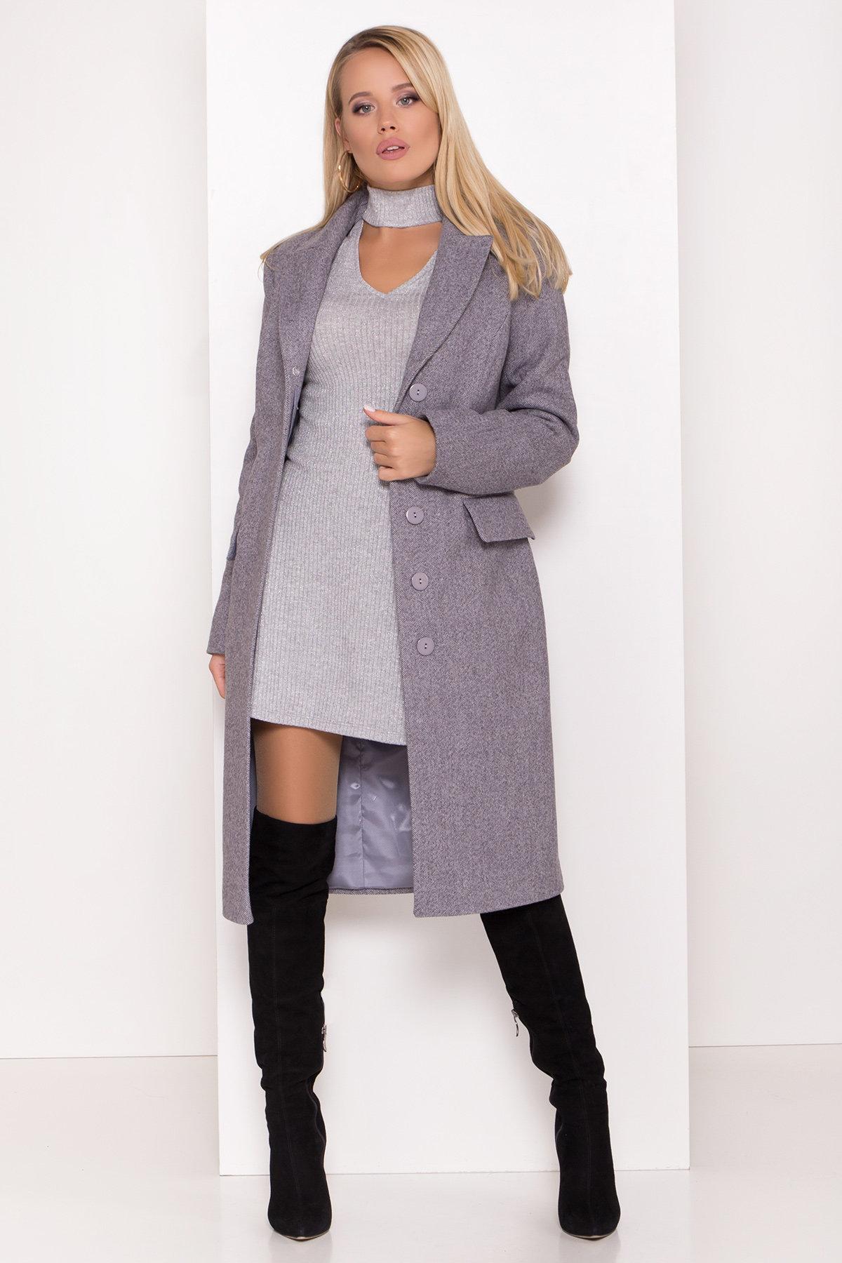 Полуприталенное зимнее пальто с отложным воротником Лабио 8182 АРТ. 44189 Цвет: Серый 2 - фото 1, интернет магазин tm-modus.ru