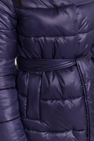 Удлиненный зимний пуховик с поясом Сигма 8040 Цвет: Т.синий