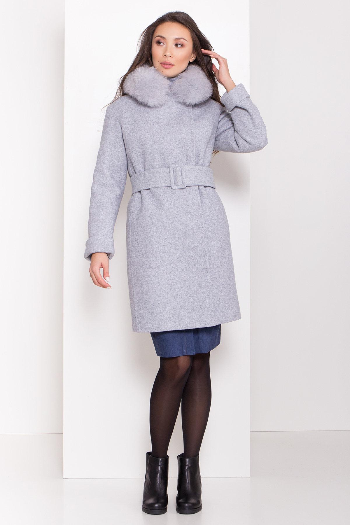 Заказать пальто оптом от Modus Полуприталенное зимнее пальто серых тонов Лизи 8170