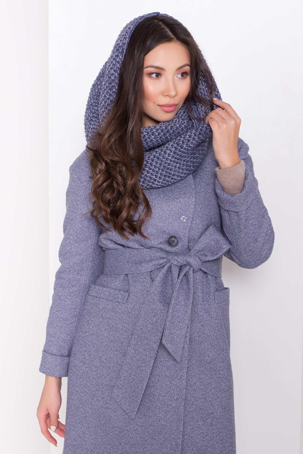 Зимнее утепленное пальто диагональ Вива 8243 Цвет: Джинс 3