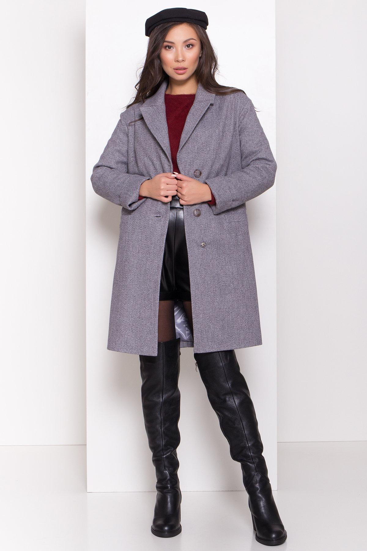 Зимнее утепленное пальто диагональ Вива 8243 АРТ. 44279 Цвет: Серый - фото 2, интернет магазин tm-modus.ru