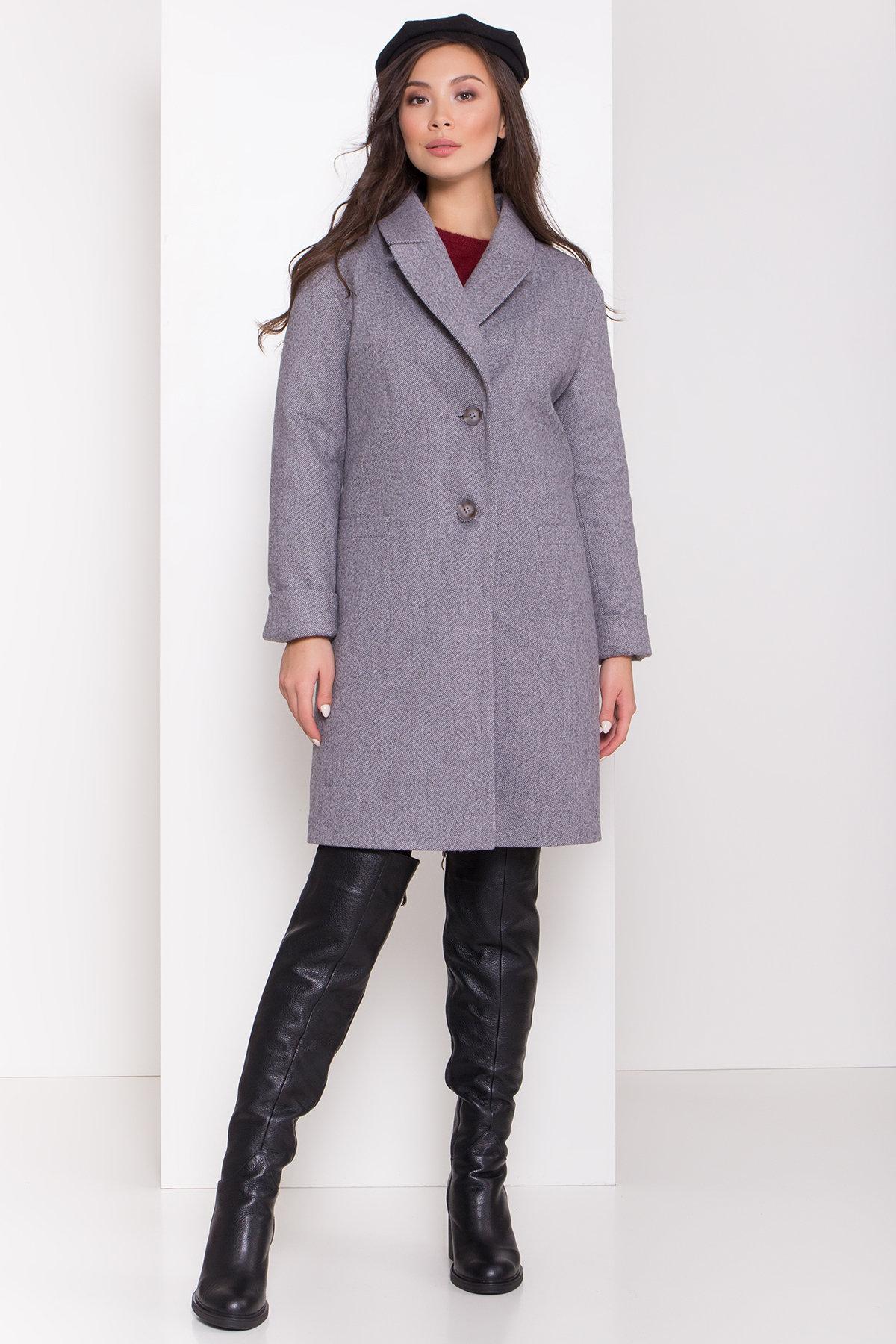 Зимнее утепленное пальто диагональ Вива 8243 АРТ. 44279 Цвет: Серый - фото 3, интернет магазин tm-modus.ru