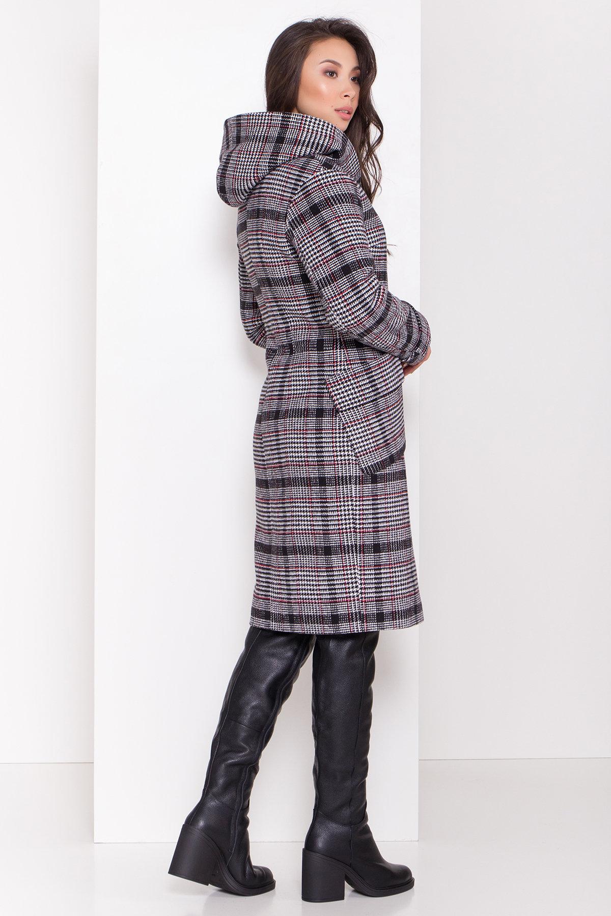 Зимнее пальто в стильную клетку Анджи 8276 АРТ. 44386 Цвет: Клетка кр черн/бел/кр - фото 4, интернет магазин tm-modus.ru