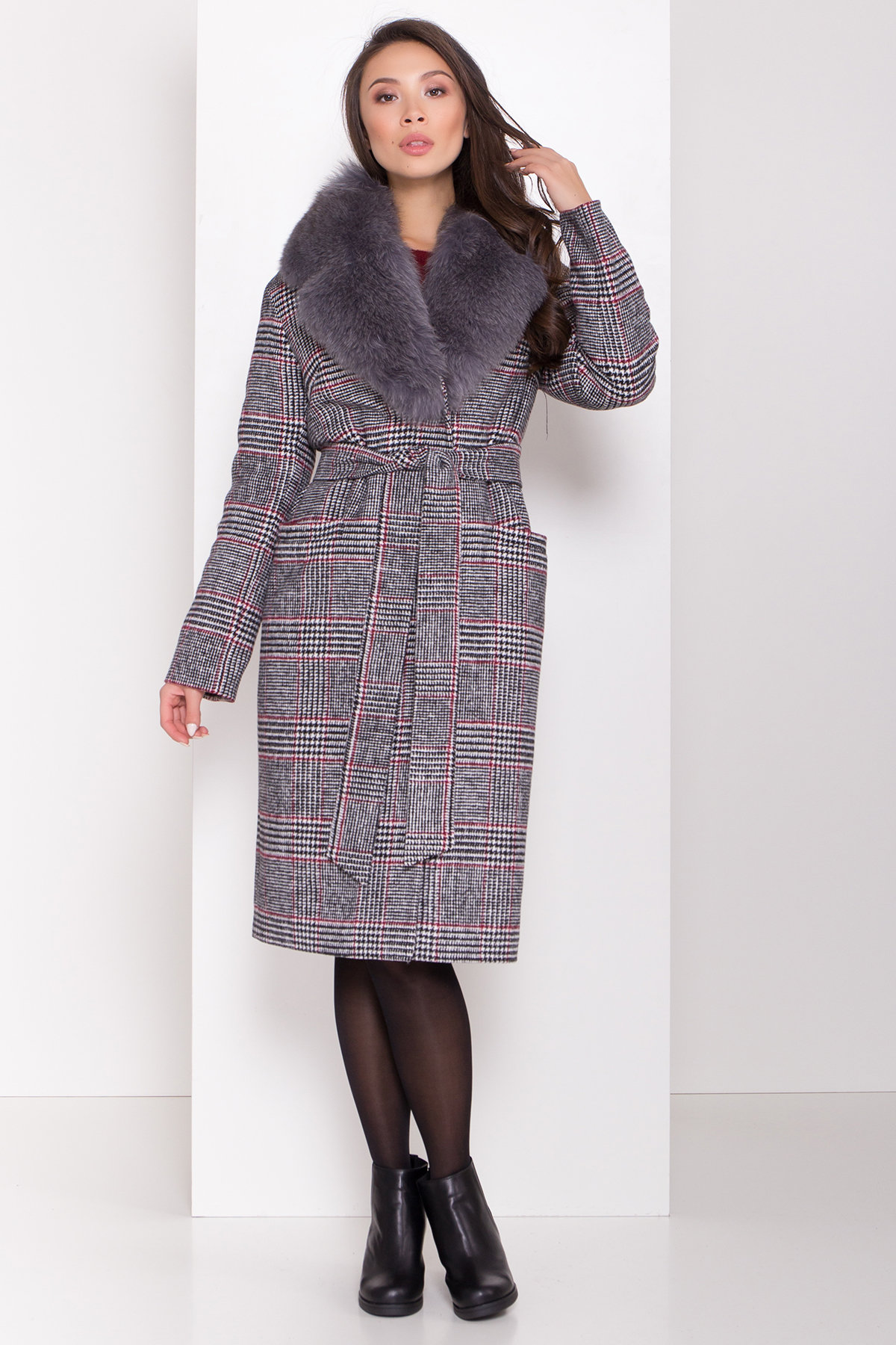 Пальто зима Вива 8279 АРТ. 44392 Цвет: Клетка кр черн/бел/кр - фото 1, интернет магазин tm-modus.ru