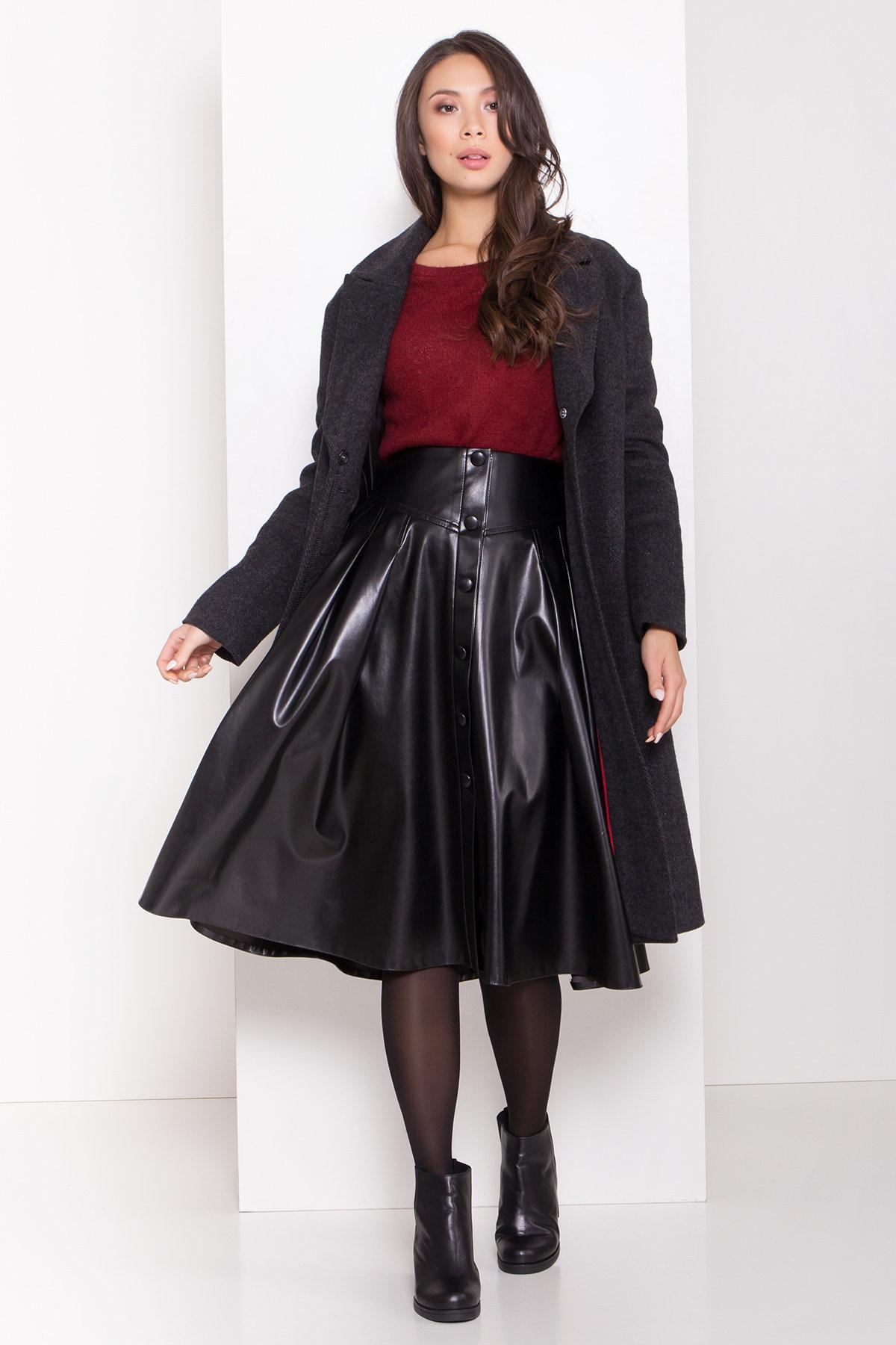 Зимнее пальто полуприталенного кроя Севен 8262 АРТ. 44329 Цвет: Чёрный/молоко - фото 1, интернет магазин tm-modus.ru