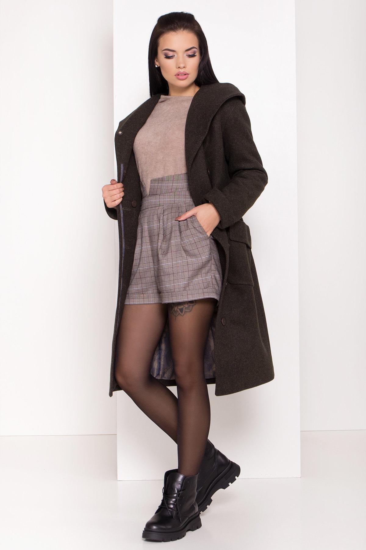 Женское пальто зима с накладными карманами Анджи 8299 АРТ. 44424 Цвет: Хаки - фото 1, интернет магазин tm-modus.ru