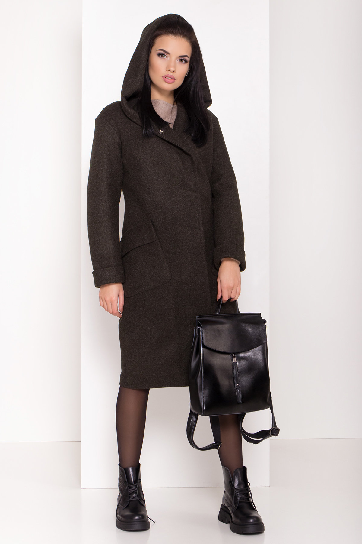 Женское пальто зима с накладными карманами Анджи 8299 АРТ. 44424 Цвет: Хаки - фото 2, интернет магазин tm-modus.ru