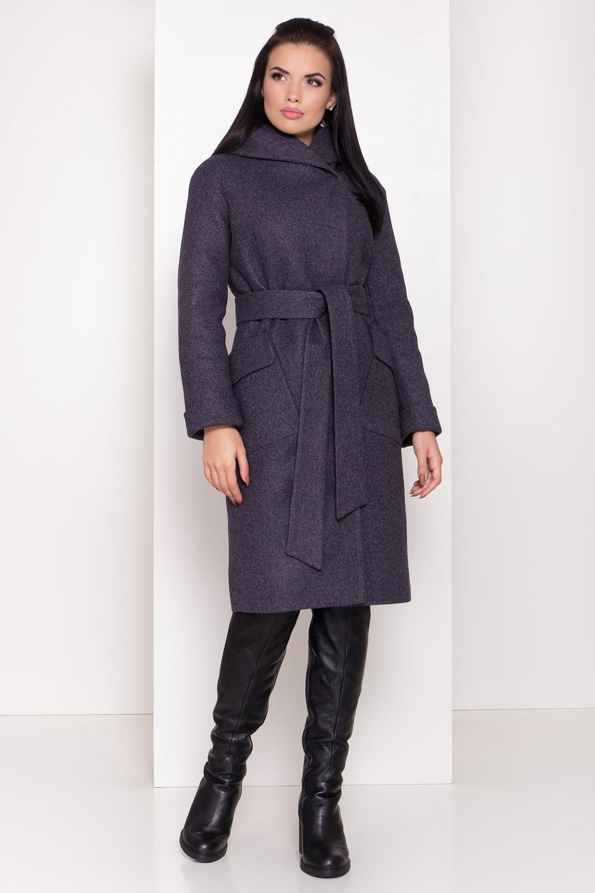 Женское пальто зима с накладными карманами Анджи 8301 Цвет: т. синий 543