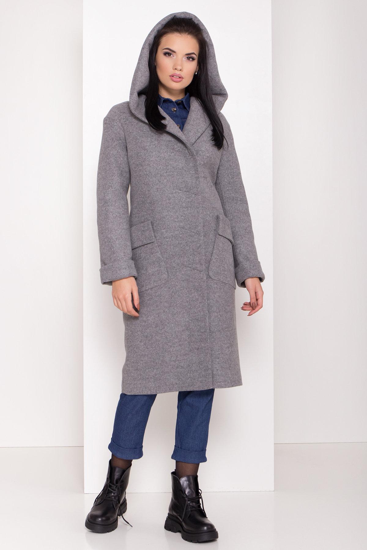 Женское пальто зима с накладными карманами Анджи 8299 АРТ. 44423 Цвет: Серый меланж - фото 2, интернет магазин tm-modus.ru