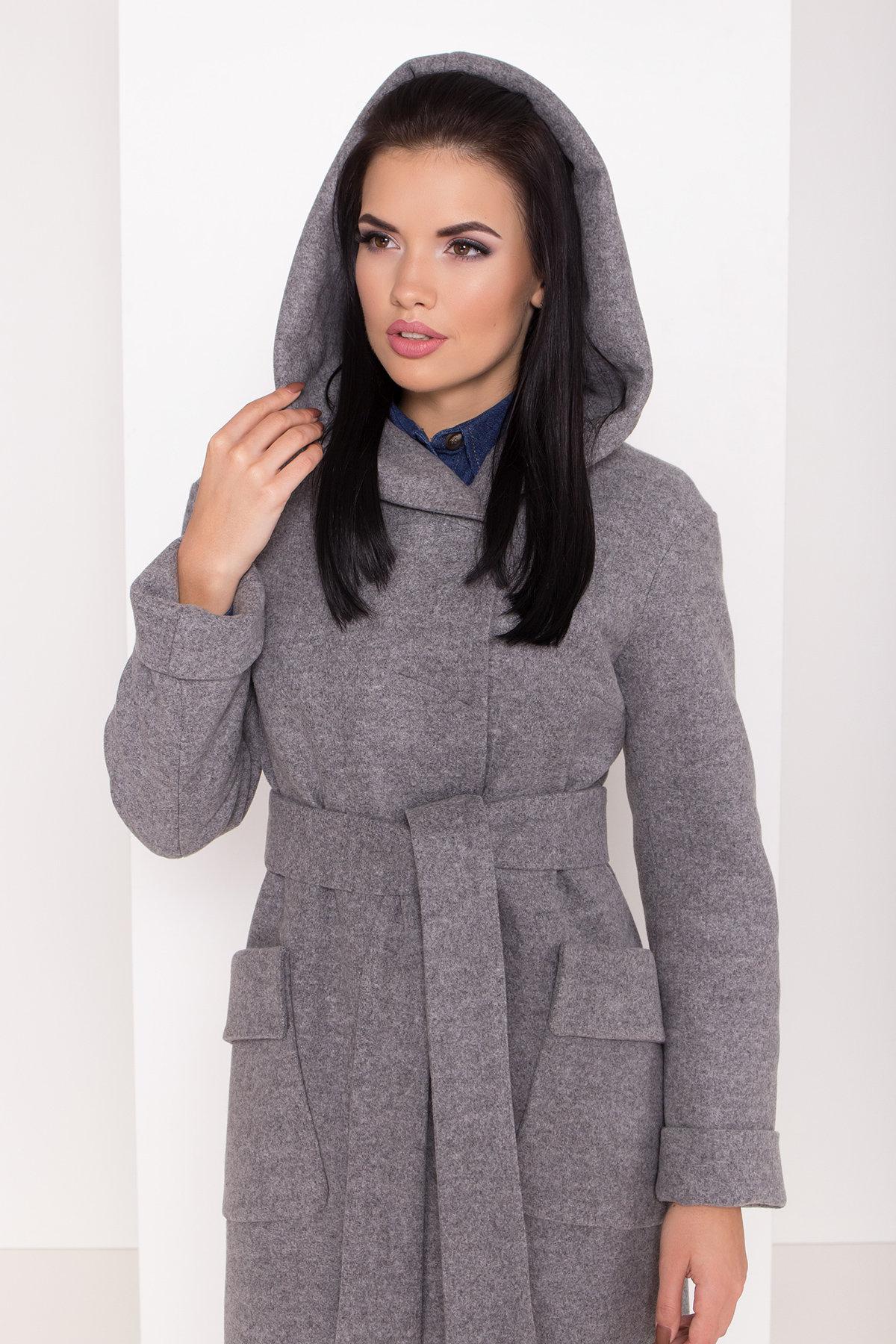 Женское пальто зима с накладными карманами Анджи 8299 АРТ. 44423 Цвет: Серый меланж - фото 5, интернет магазин tm-modus.ru