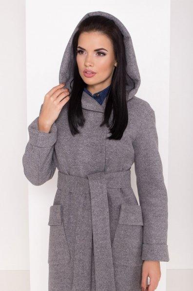 Женское пальто зима с накладными карманами Анджи 8299 Цвет: Серый меланж