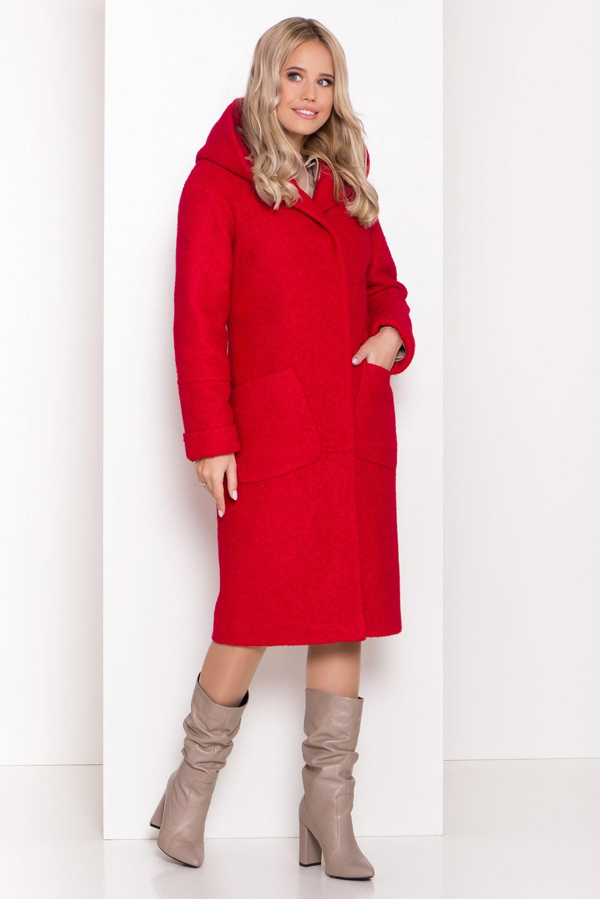 Пальто зима шерсть букле Анита классик 8320 АРТ. 44441 Цвет: Красный 1 - фото 2, интернет магазин tm-modus.ru