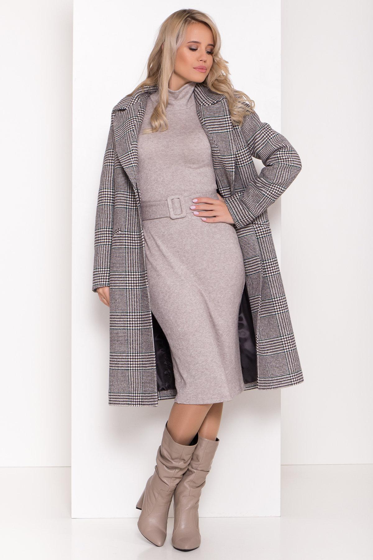Пальто зима Эрли 8267 АРТ. 44346 Цвет: Клетка кр чер/мол/изумр - фото 2, интернет магазин tm-modus.ru