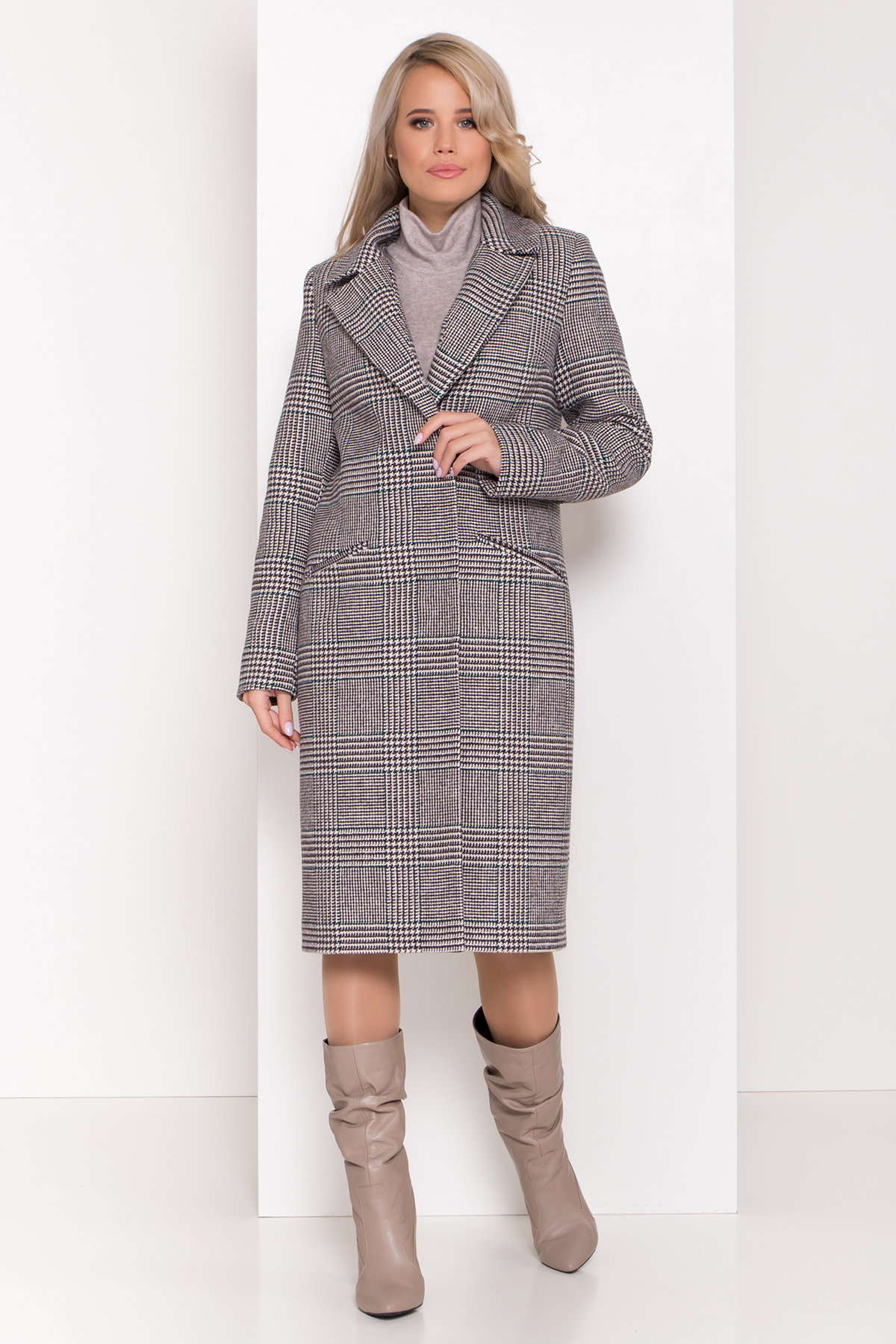 Пальто зима Эрли 8267 АРТ. 44346 Цвет: Клетка кр чер/мол/изумр - фото 3, интернет магазин tm-modus.ru