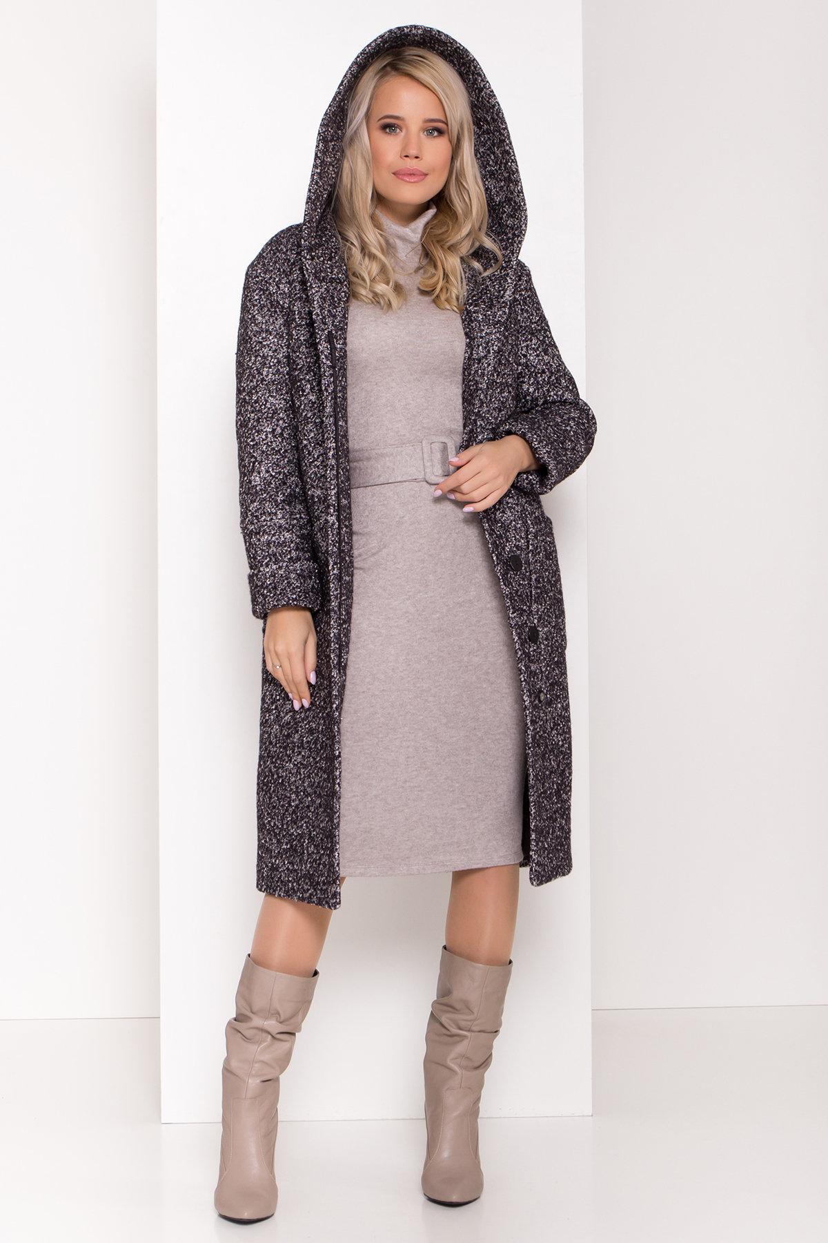 Пальто зима шерсть букле Анита 8320 АРТ. 44442 Цвет: Черный/серый - фото 2, интернет магазин tm-modus.ru