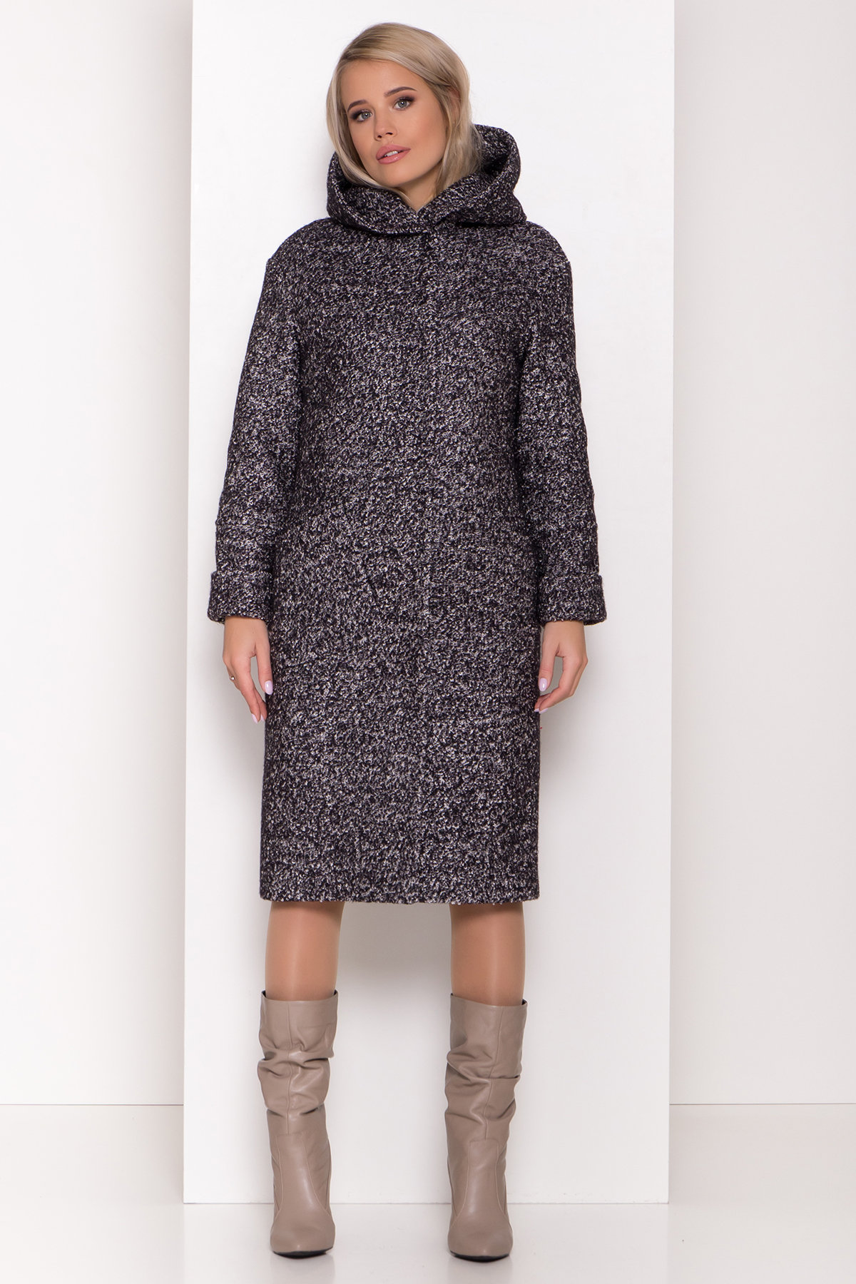 Пальто зима шерсть букле Анита 8320 АРТ. 44442 Цвет: Черный/серый - фото 3, интернет магазин tm-modus.ru