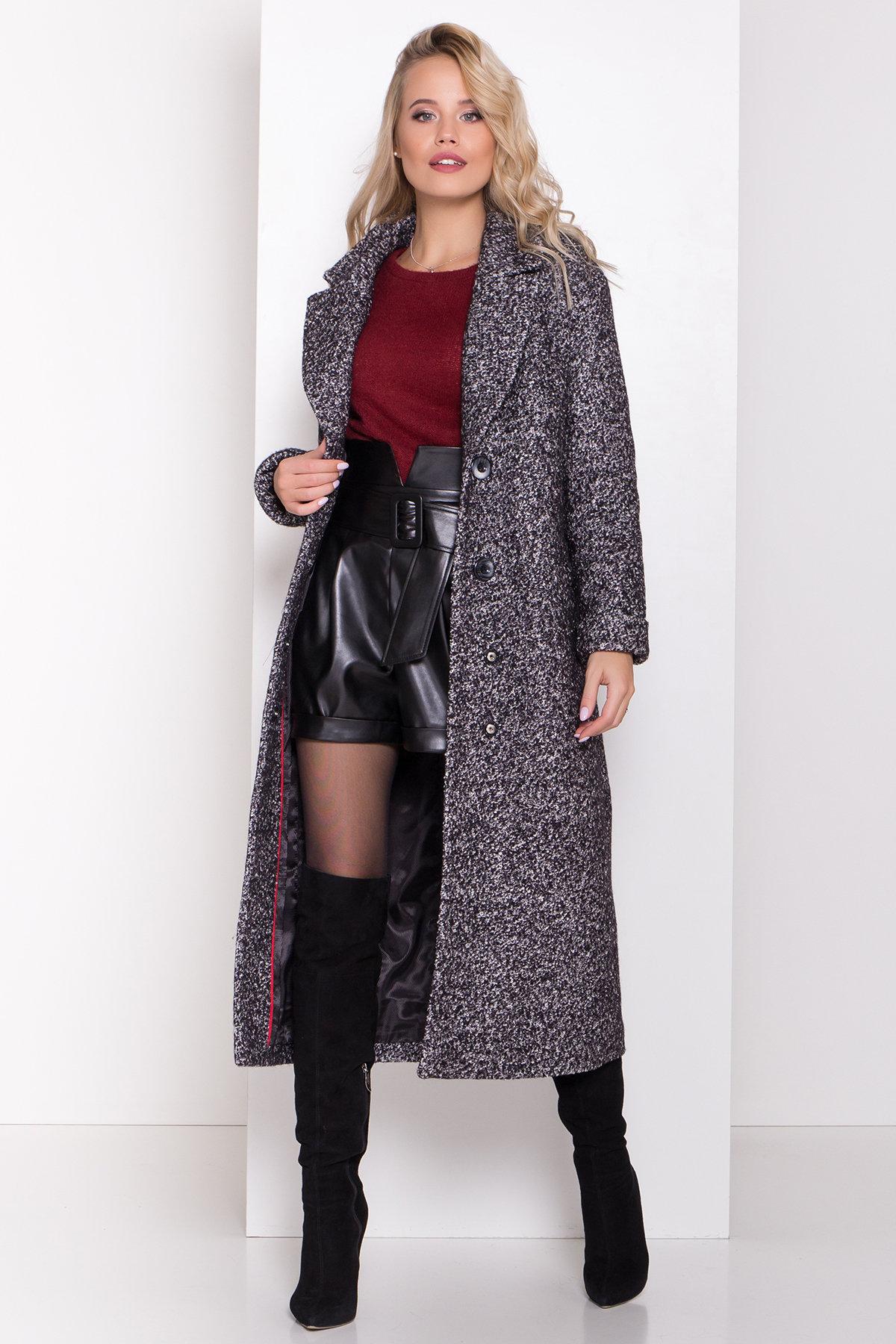 Теплое зимнее пальто буклированная шерсть Вива макси 8349 АРТ. 44517 Цвет: Черный/серый 61 - фото 9, интернет магазин tm-modus.ru