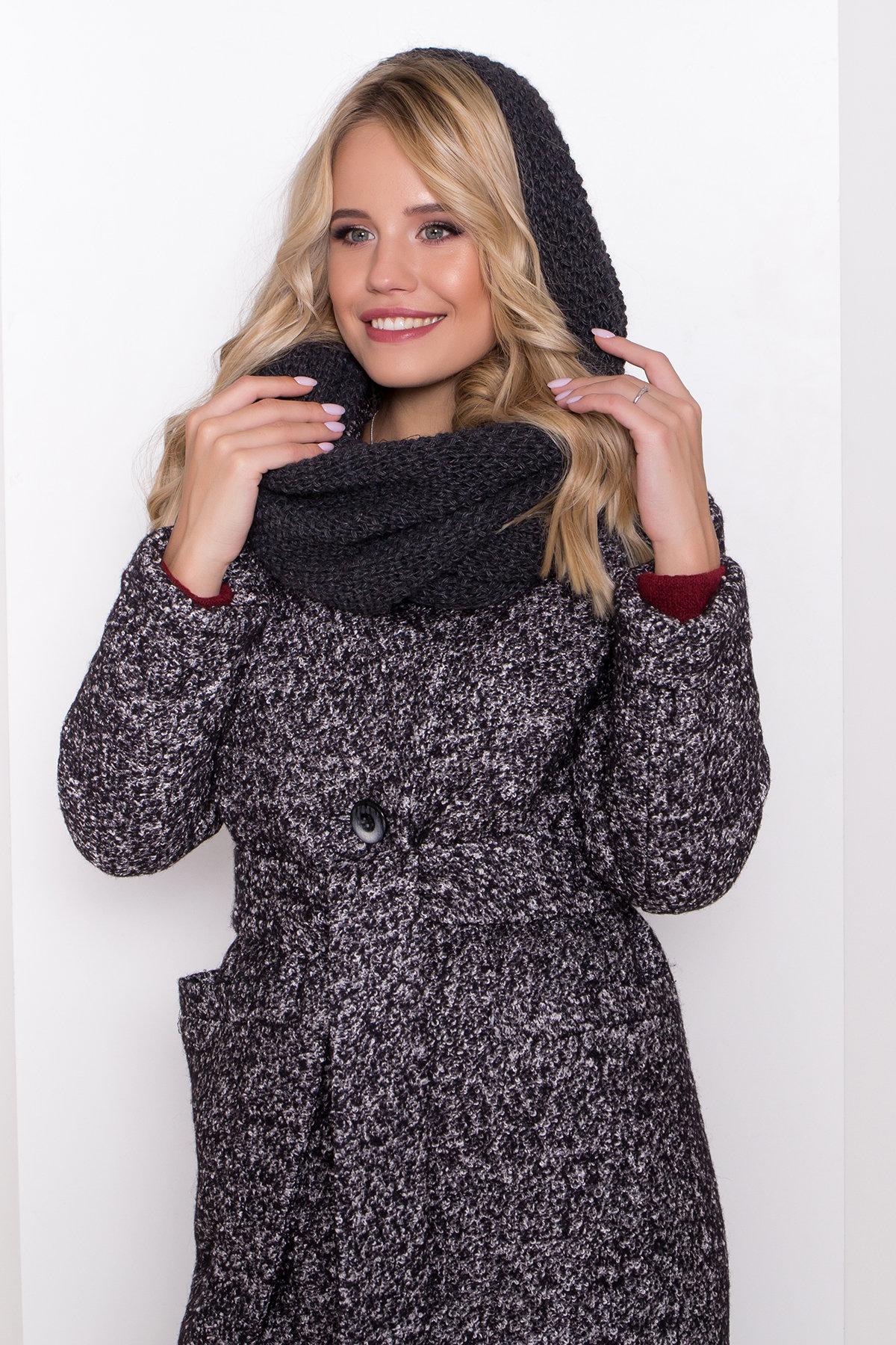 Теплое зимнее пальто буклированная шерсть Вива макси 8349 АРТ. 44517 Цвет: Черный/серый 61 - фото 17, интернет магазин tm-modus.ru