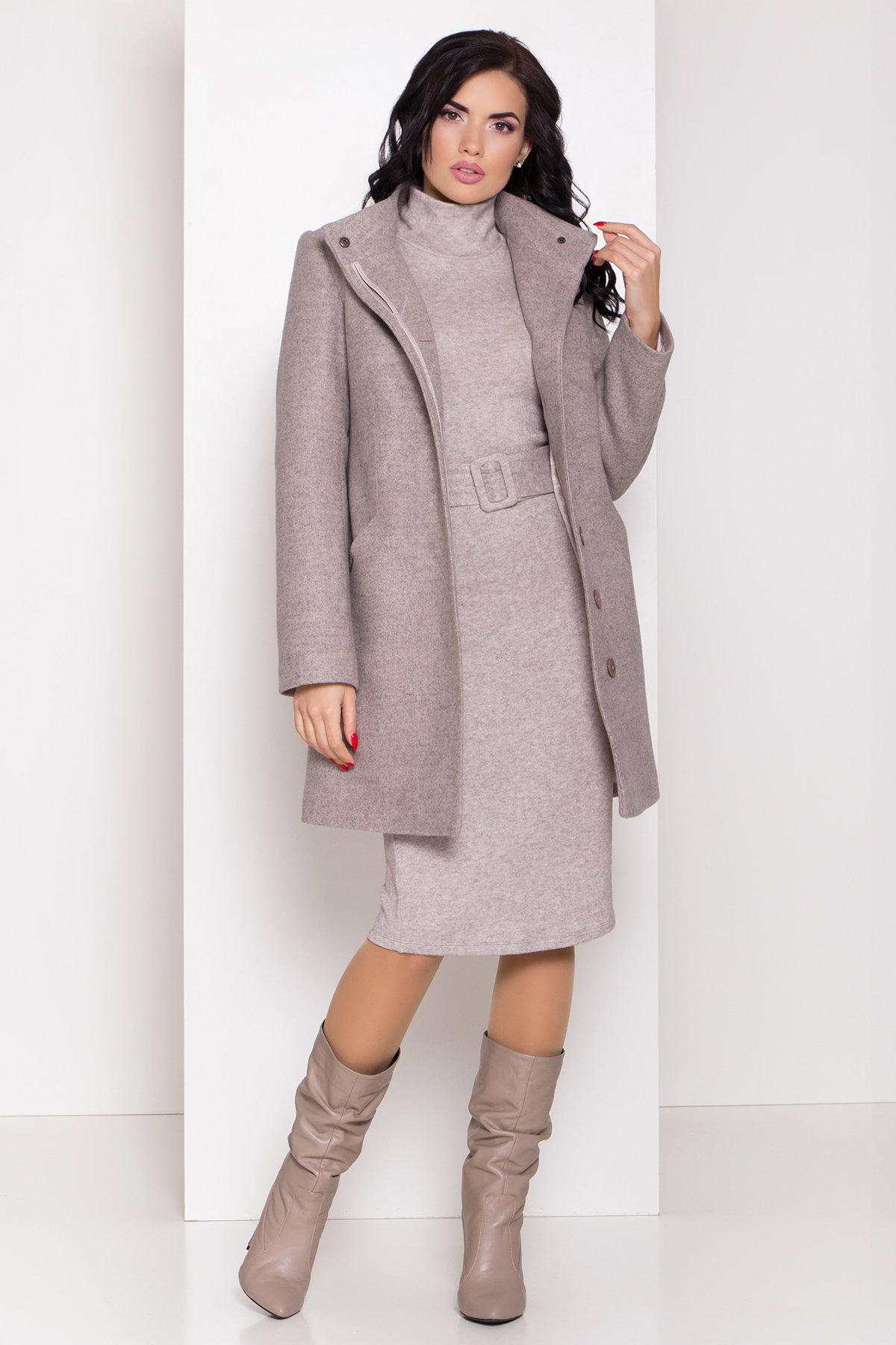 Зимнее пальто с круговым шарфом  Сплит 8406 АРТ. 44632 Цвет: Бежевый 31 - фото 1, интернет магазин tm-modus.ru