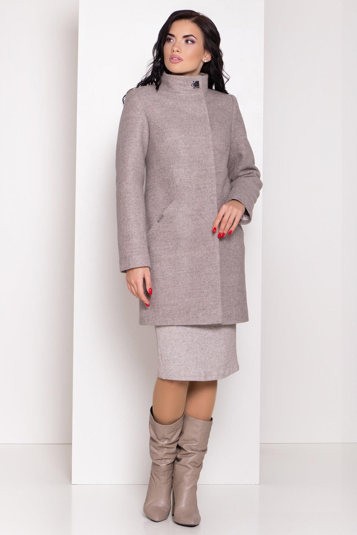 Зимнее пальто с круговым шарфом  Сплит 8406 АРТ. 44632 Цвет: Бежевый 31 - фото 2, интернет магазин tm-modus.ru