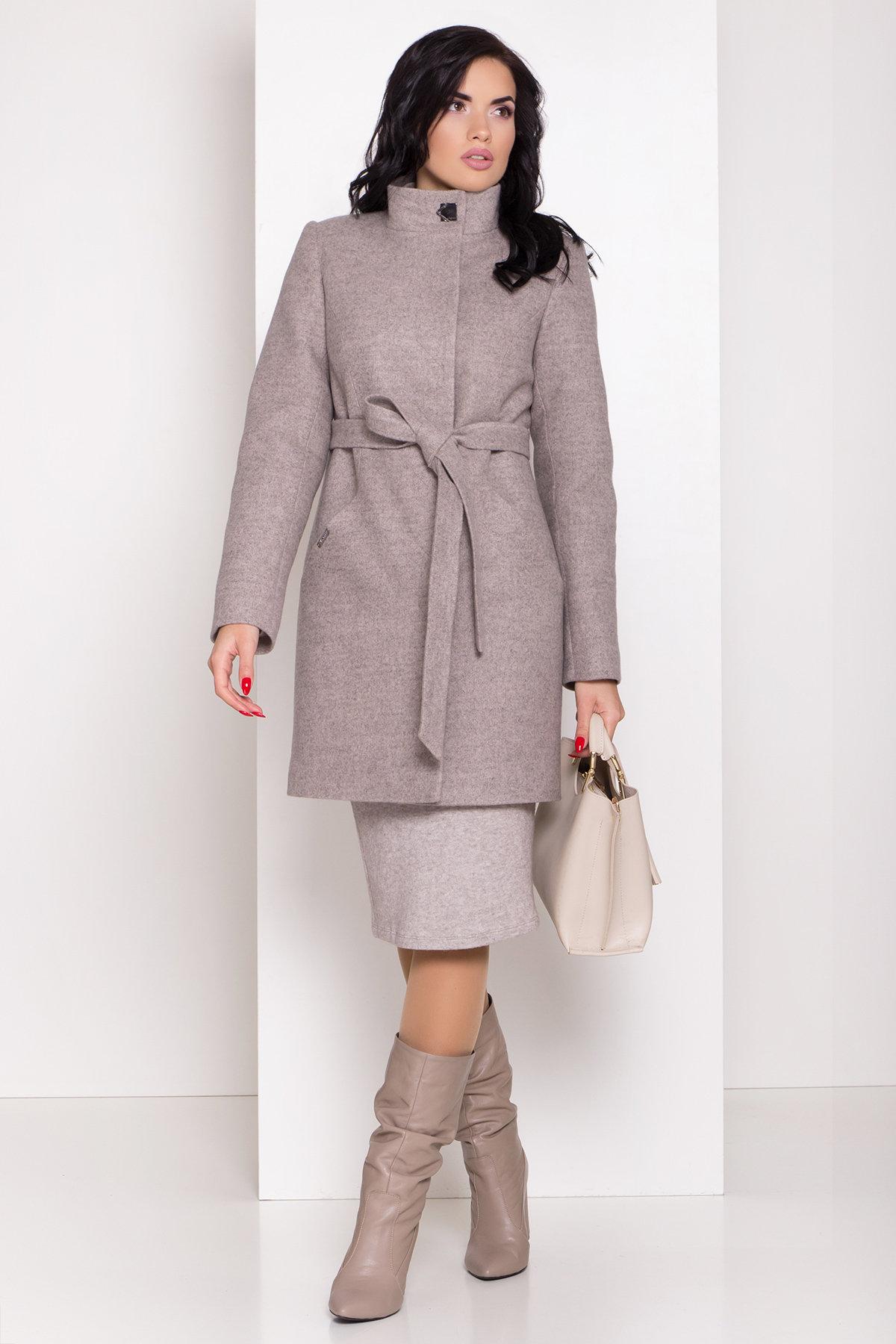 Зимнее пальто с круговым шарфом  Сплит 8406 АРТ. 44632 Цвет: Бежевый 31 - фото 4, интернет магазин tm-modus.ru