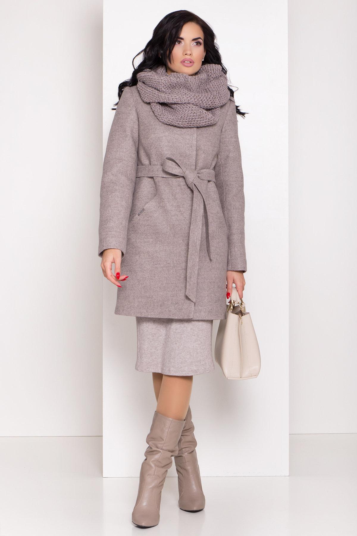 Зимнее пальто молодежное Зимнее пальто с круговым шарфом  Сплит 8406