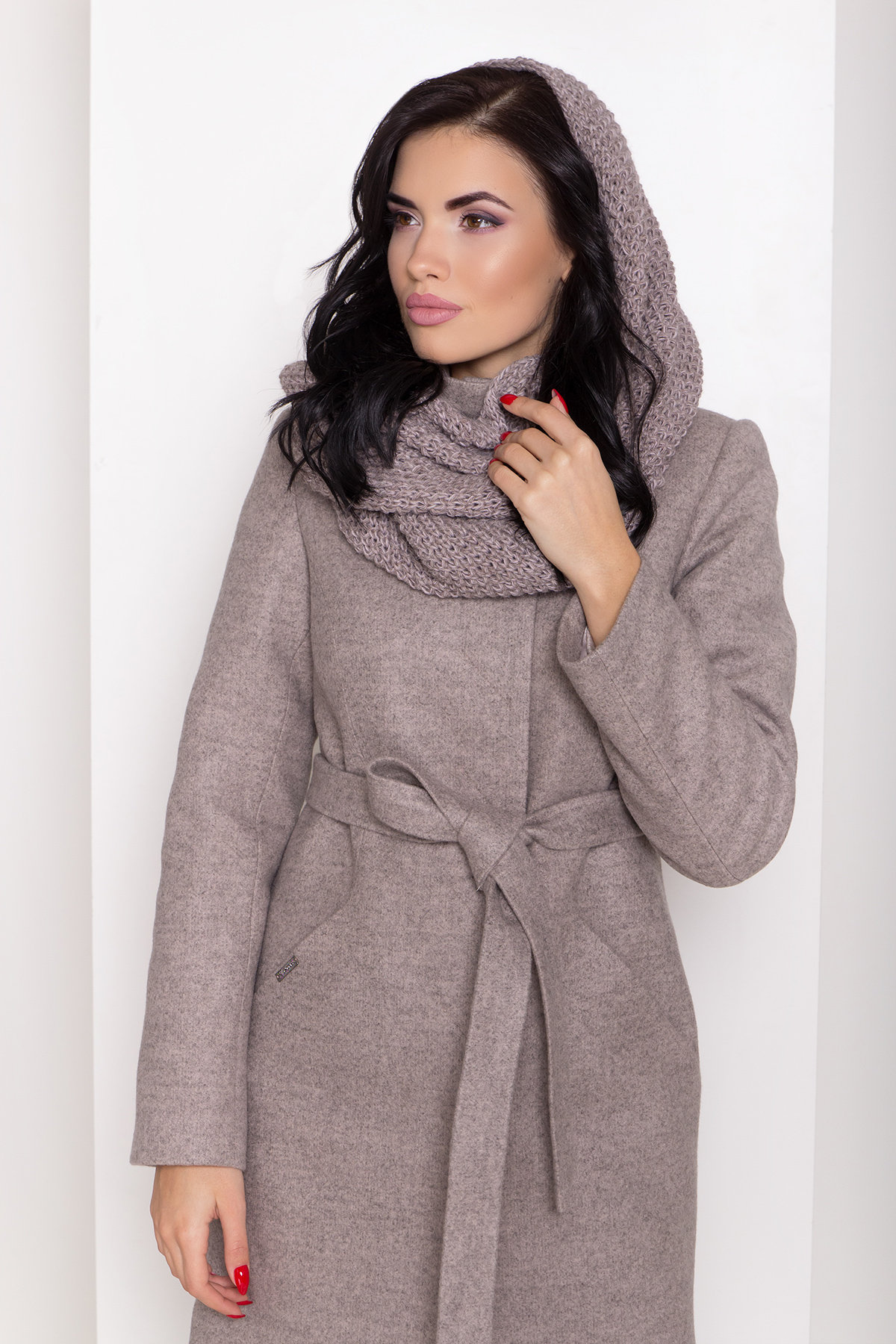 Зимнее пальто с круговым шарфом  Сплит 8406 АРТ. 44632 Цвет: Бежевый 31 - фото 6, интернет магазин tm-modus.ru