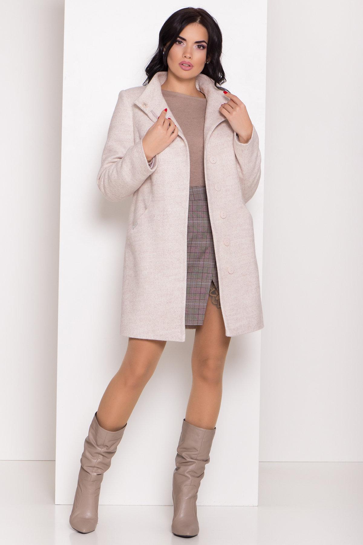 Зимнее пальто с круговым шарфом  Сплит 8406 АРТ. 44631 Цвет: Бежевый 21 - фото 3, интернет магазин tm-modus.ru