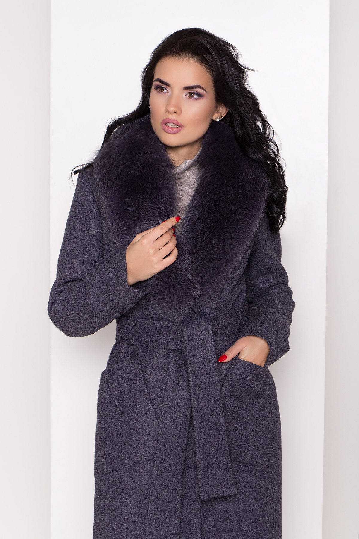 Пальто зима Габриэлла 8388 Цвет: т. синий 543