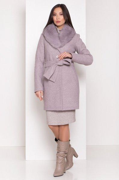 Зимнее пальто с натуральным меховым воротником Габриэлла 8214 Цвет: Серо-розовый 46