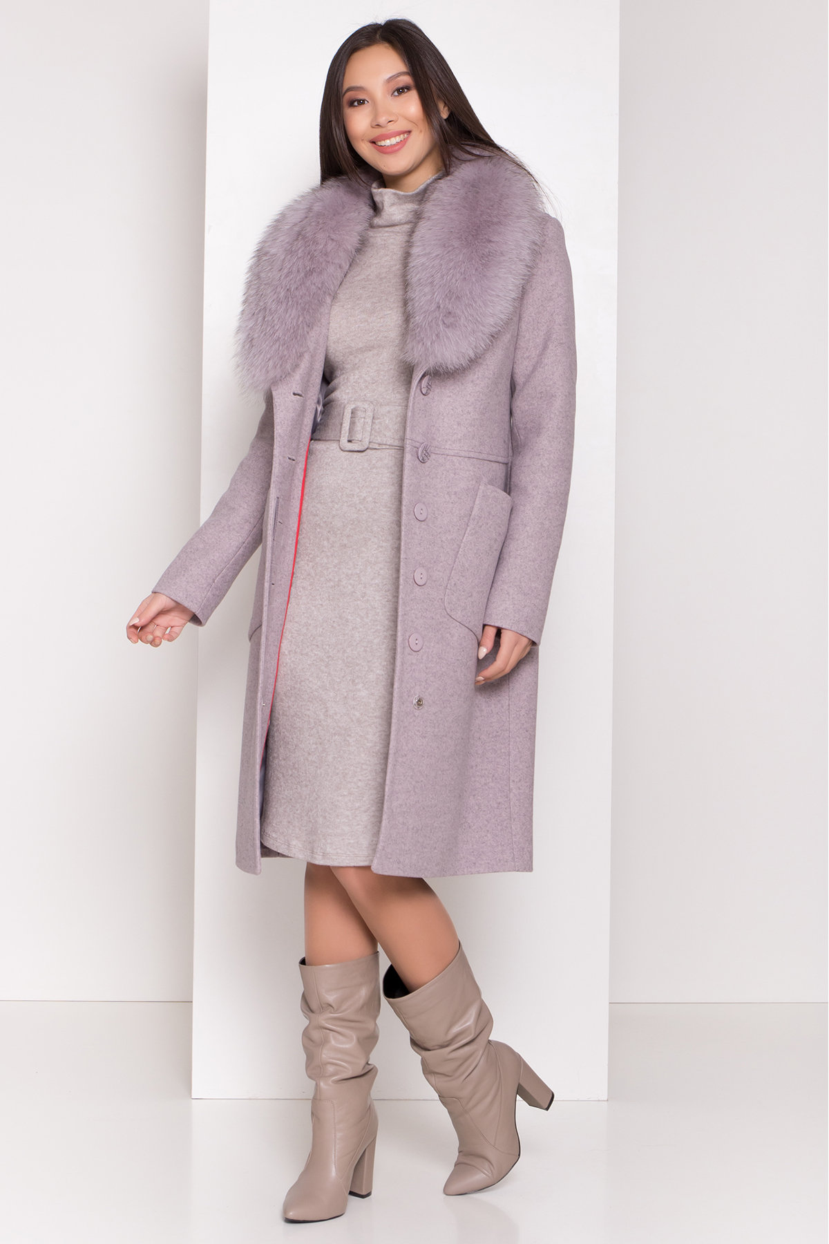 Пальто зима Габриэлла 8388 Цвет: Серо-розовый 46