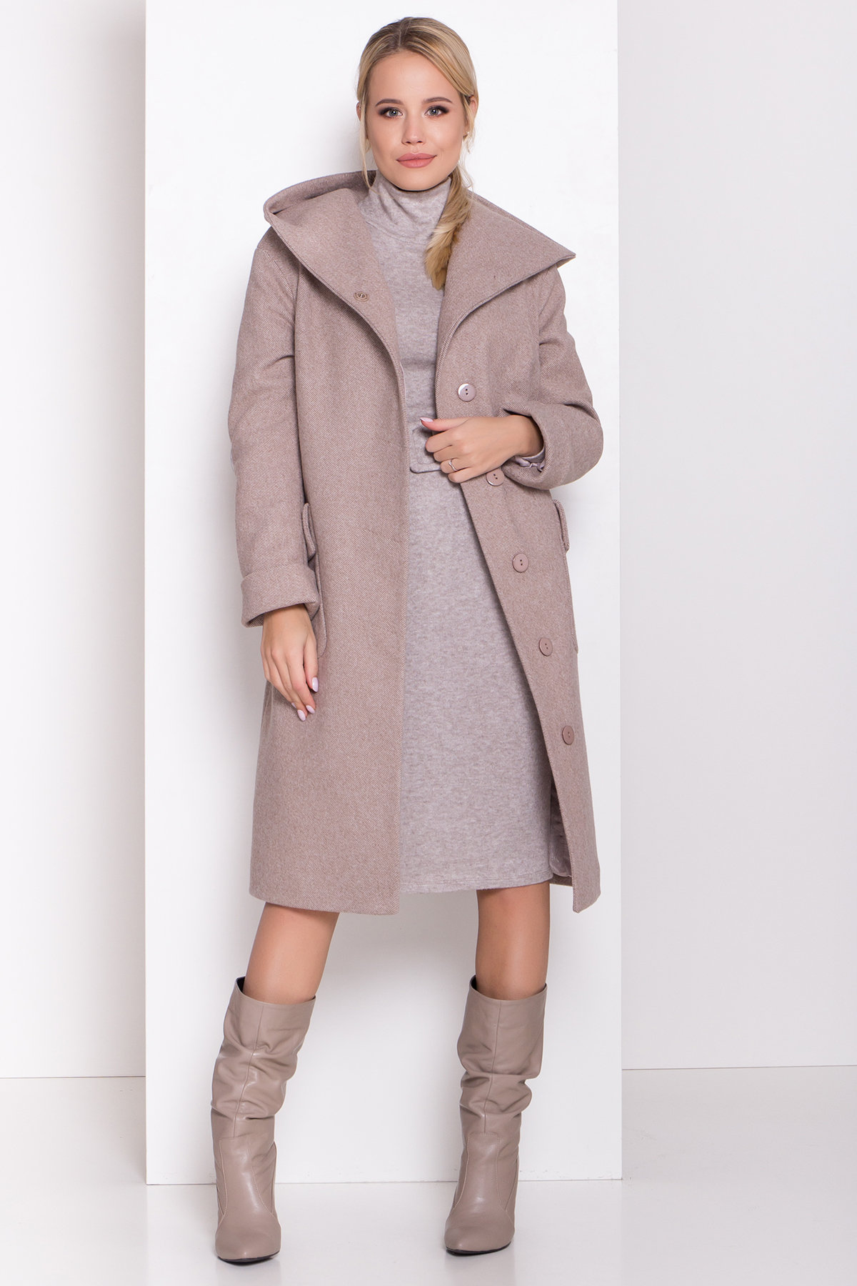 Пальто зима Анджи 8455 АРТ. 44727 Цвет: Бежевый меланж - фото 2, интернет магазин tm-modus.ru