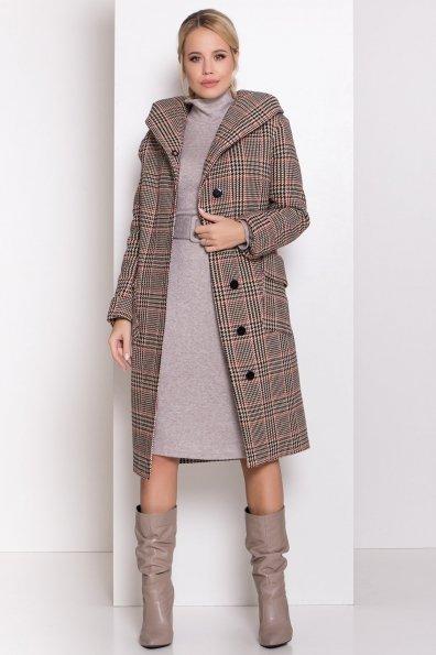 Зимнее пальто в стильную клетку Анджи 8276 Цвет: Клетка кр черн/бел/беж/красн