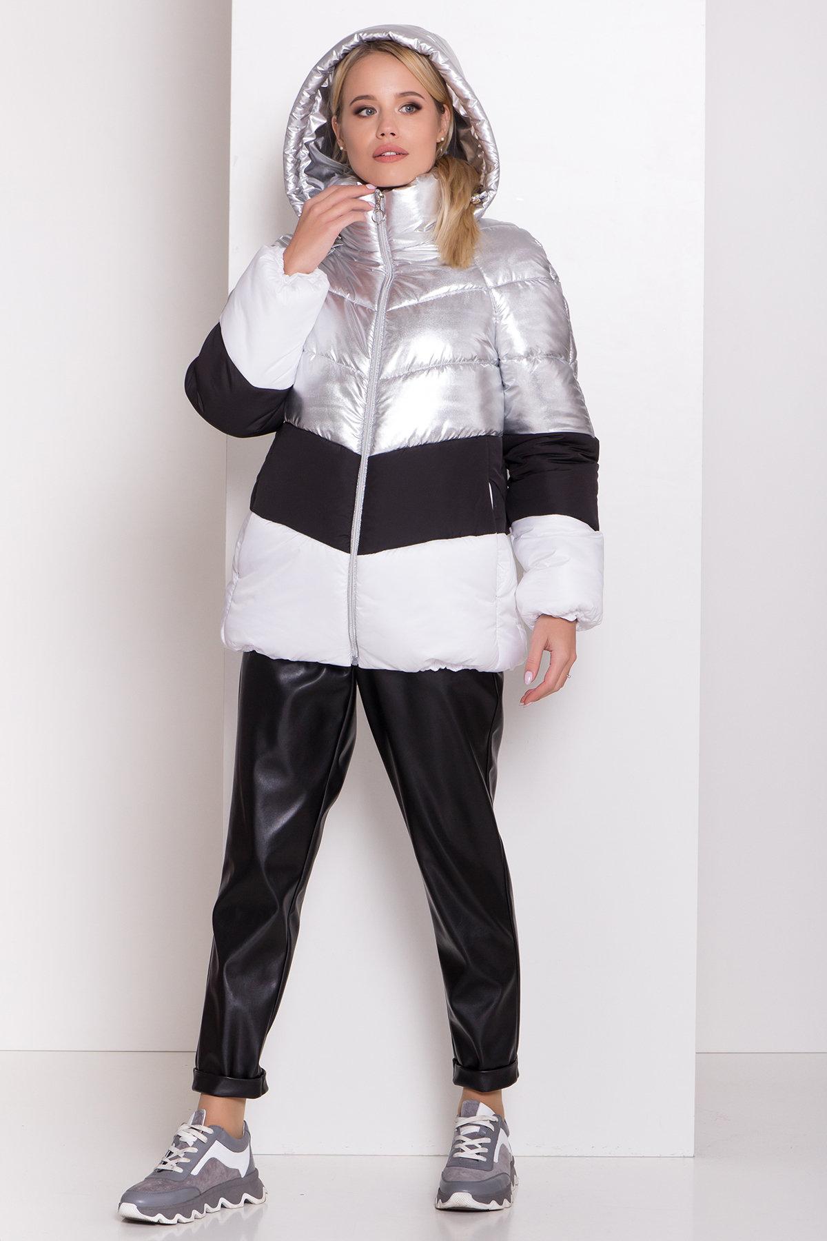 Трехцветный пуховик Австрия 8371 АРТ. 44546 Цвет: Серебро/черный/белый - фото 3, интернет магазин tm-modus.ru