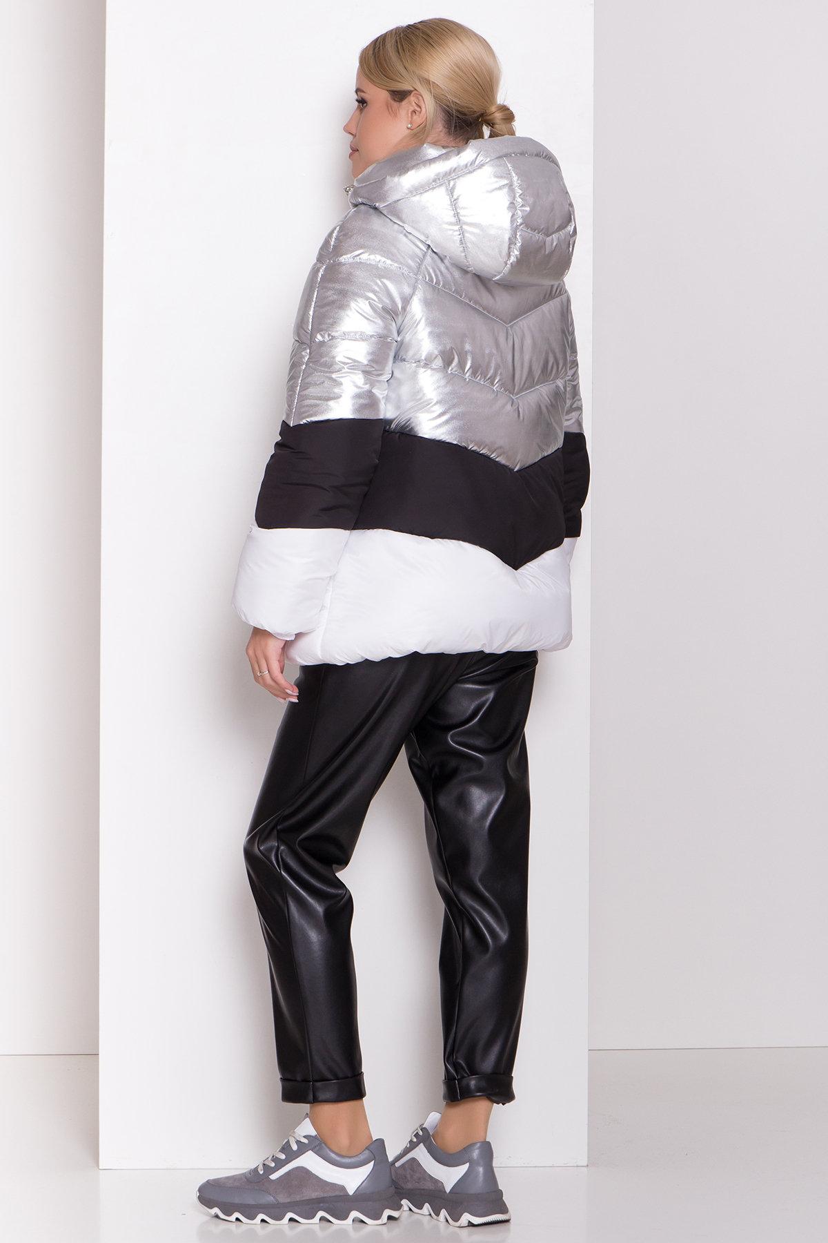 Трехцветный пуховик Австрия 8371 АРТ. 44546 Цвет: Серебро/черный/белый - фото 5, интернет магазин tm-modus.ru
